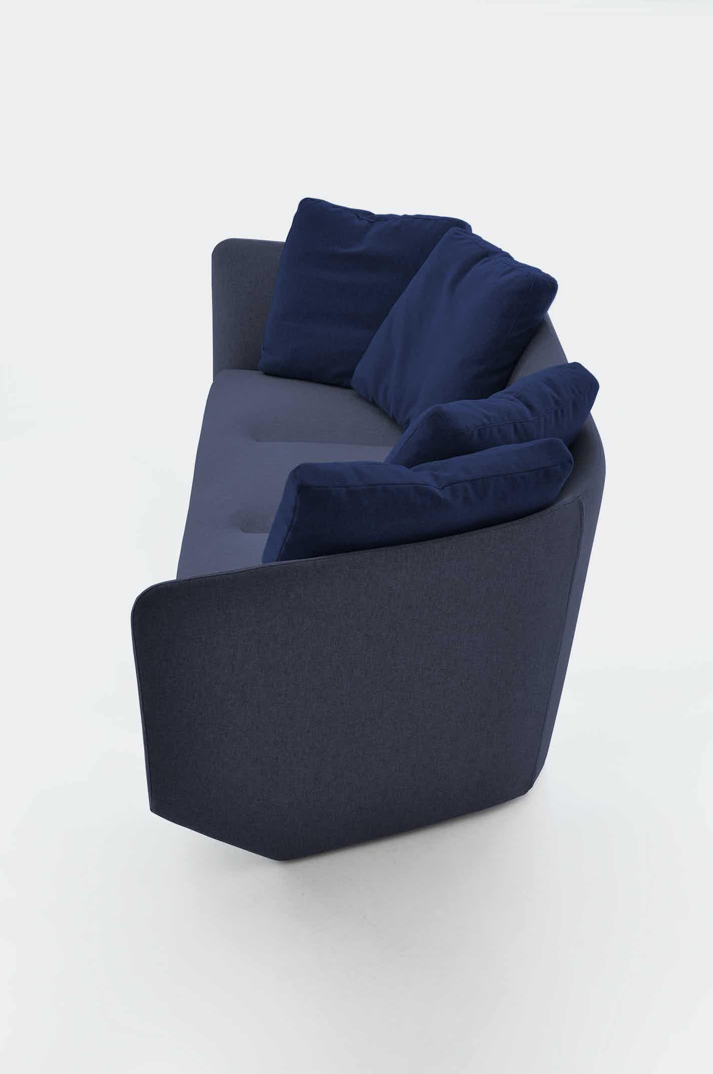 Bensen furniture aura sofa blue side haute living