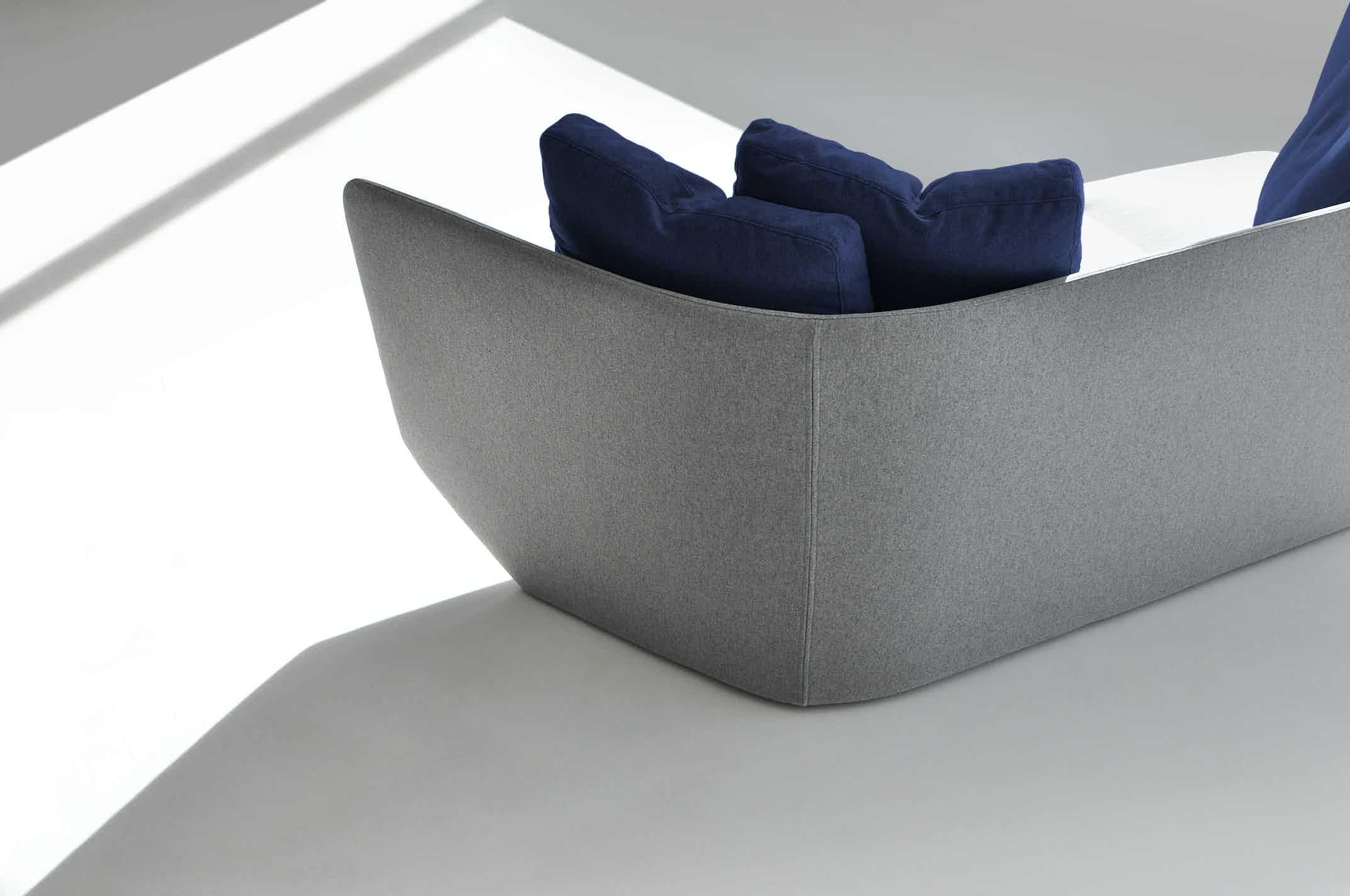 Bensen furniture aura sofa grey back haute living