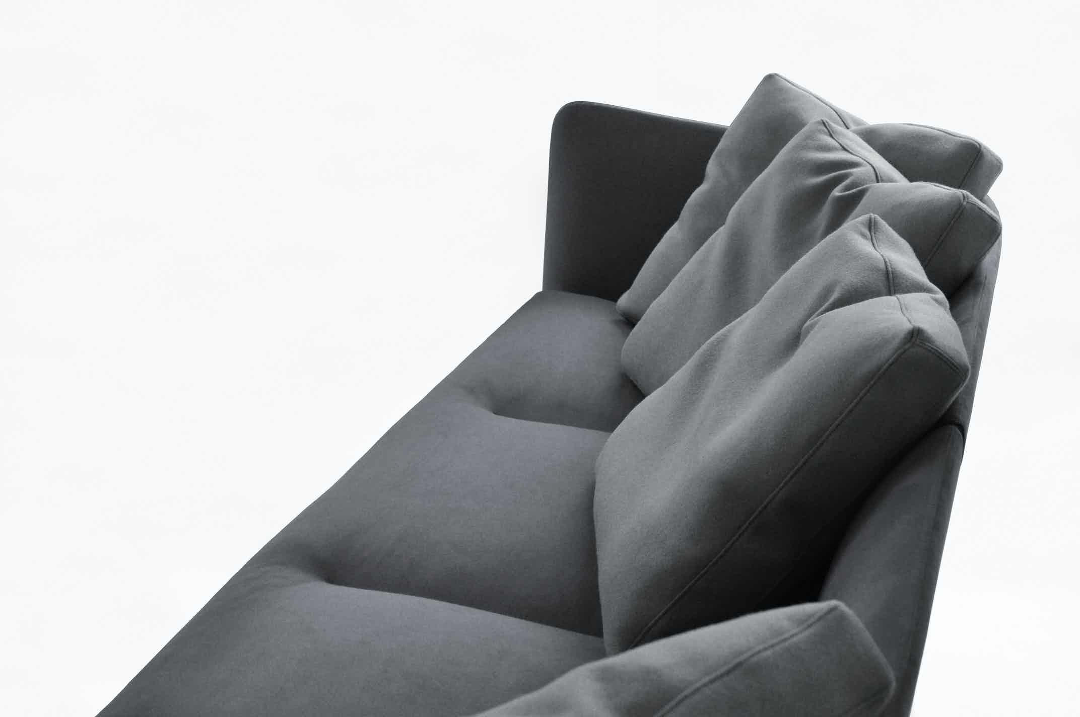 Bensen furniture aura sofa grey detail haute living