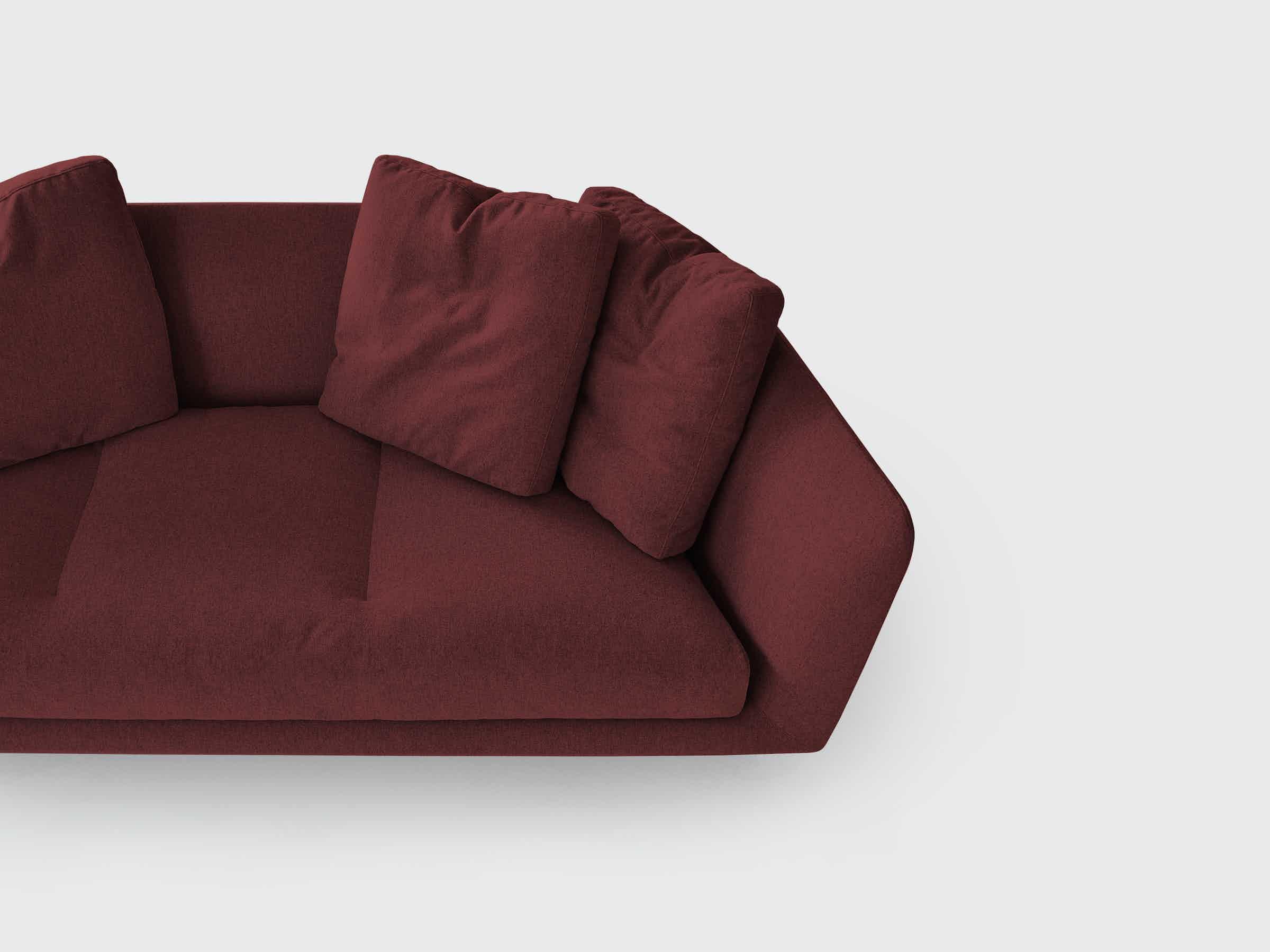 Bensen furniture aura sofa red side haute living