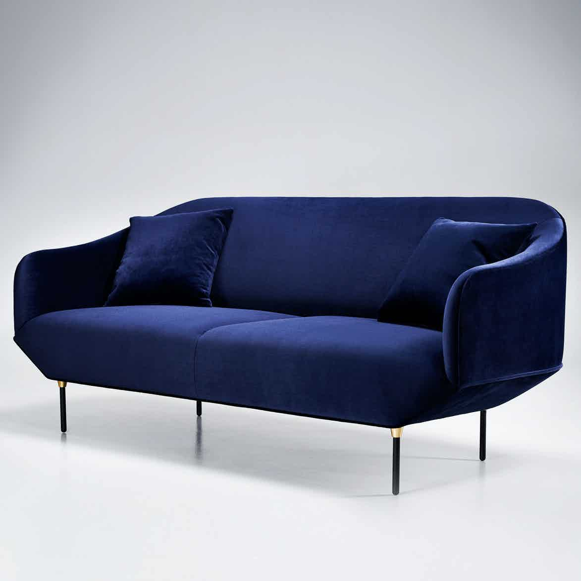 Won blue velvet bale sofa angle haute living
