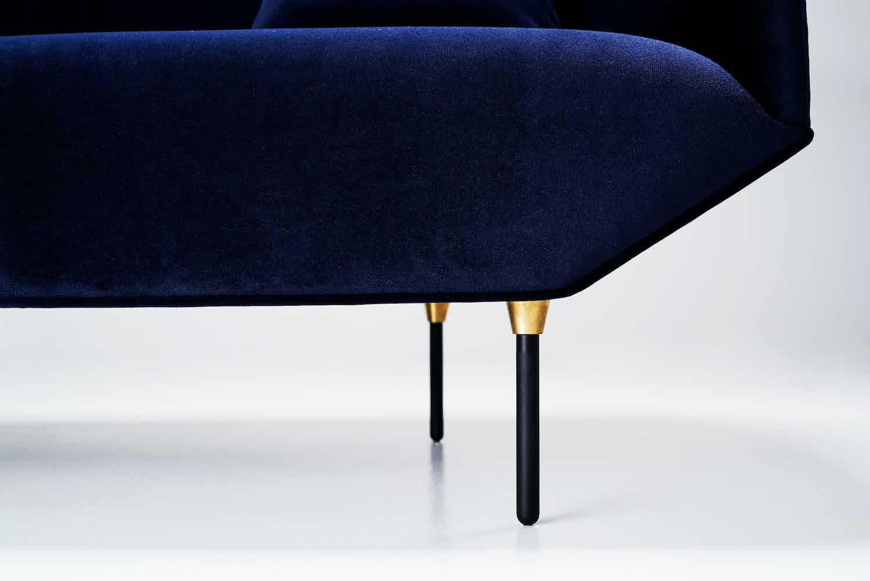 Won Blue Velvet Bale Sofa Detail Haute Living