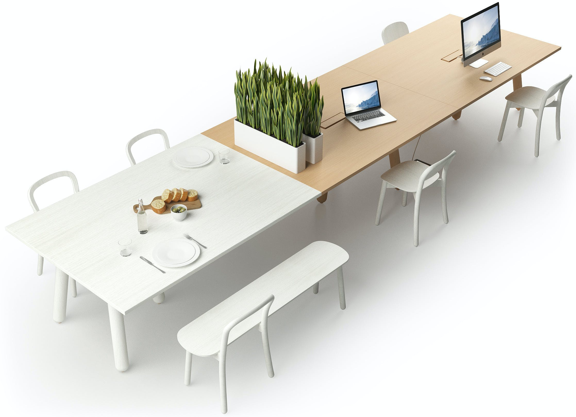 Dum-furniture-long-white-tan-beech-connect-haute-living