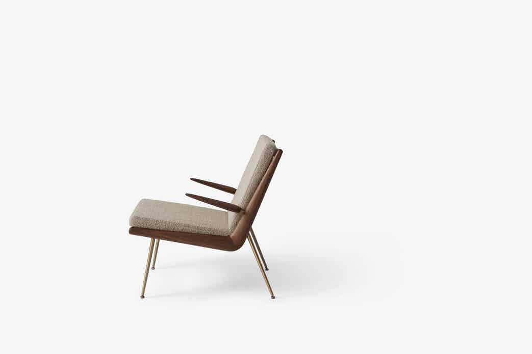Andtradition boomerang lounge chair hm2 walnut side haute living
