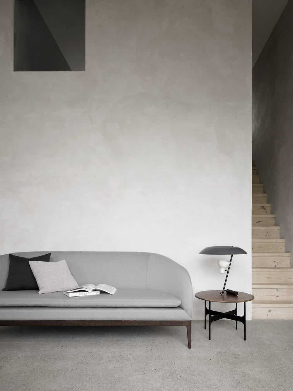 Wendelbo grey boomerang sofa insitu haute living