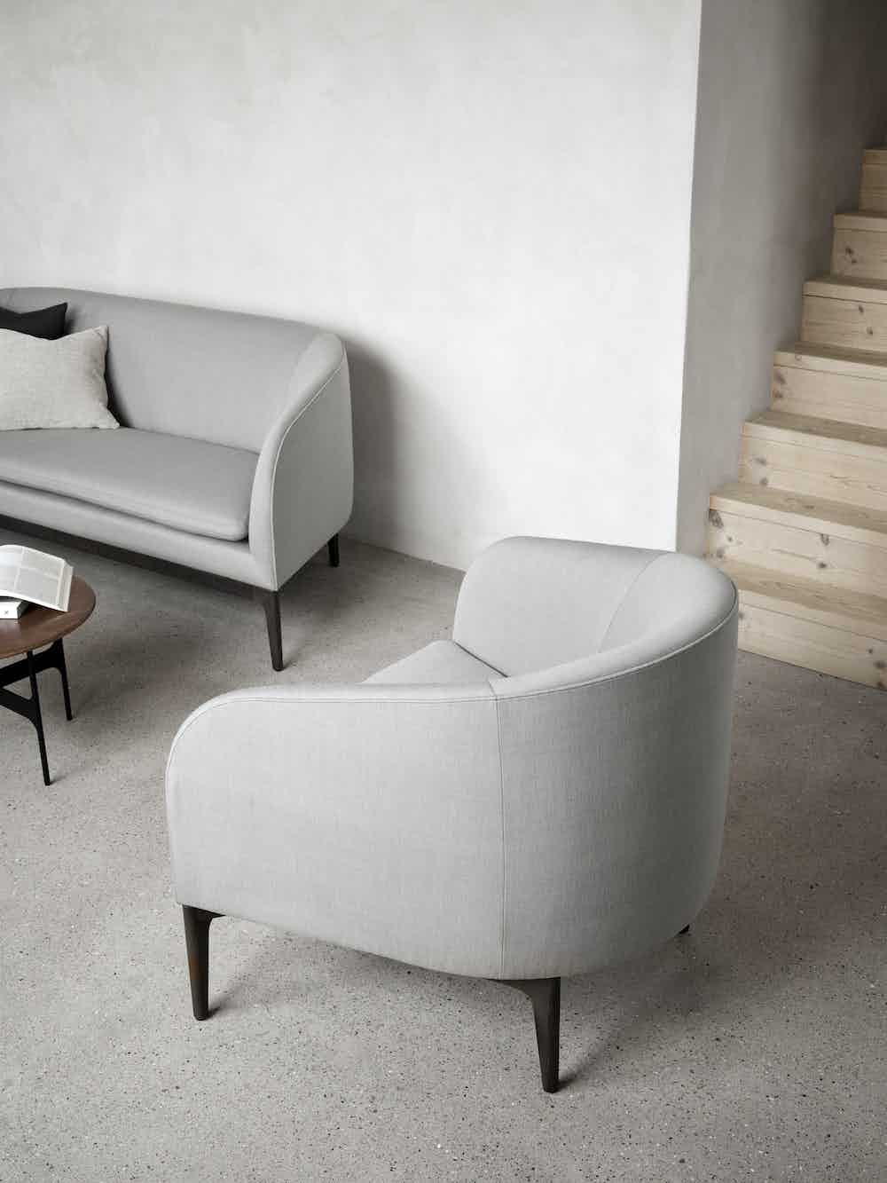 Wendelbo grey boomerang sofa insitu side haute living