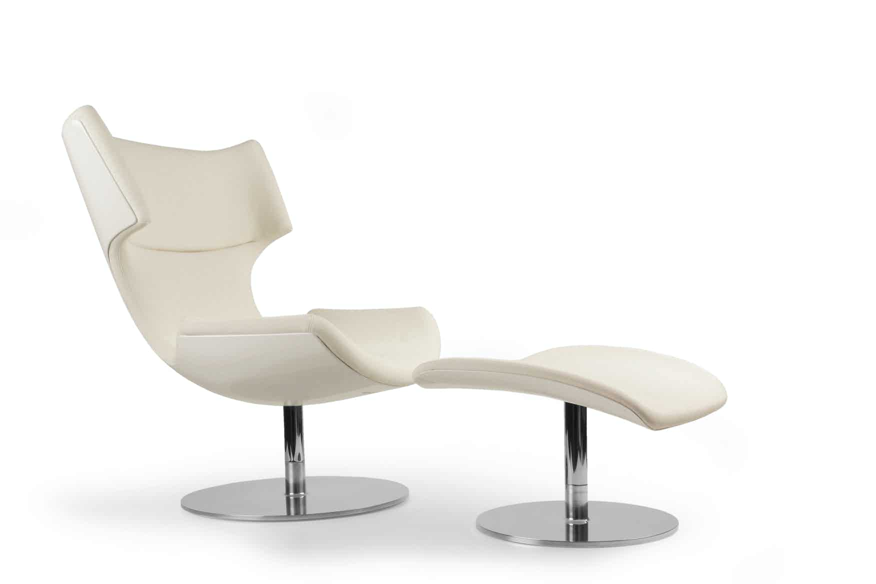 Artifort White Boson Chair And Ottoman