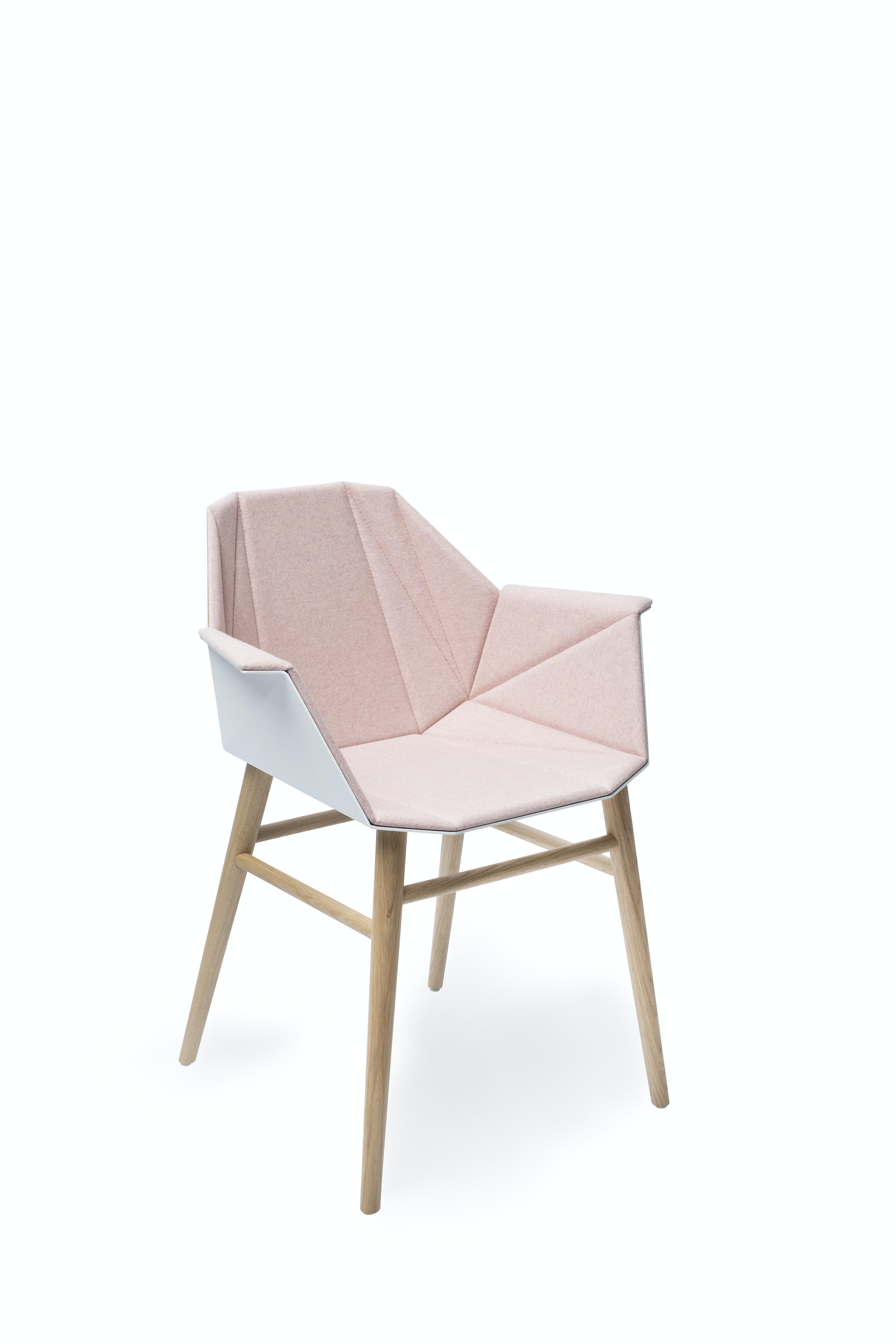 Alumni Wood White Pink Upholstered Side Angle