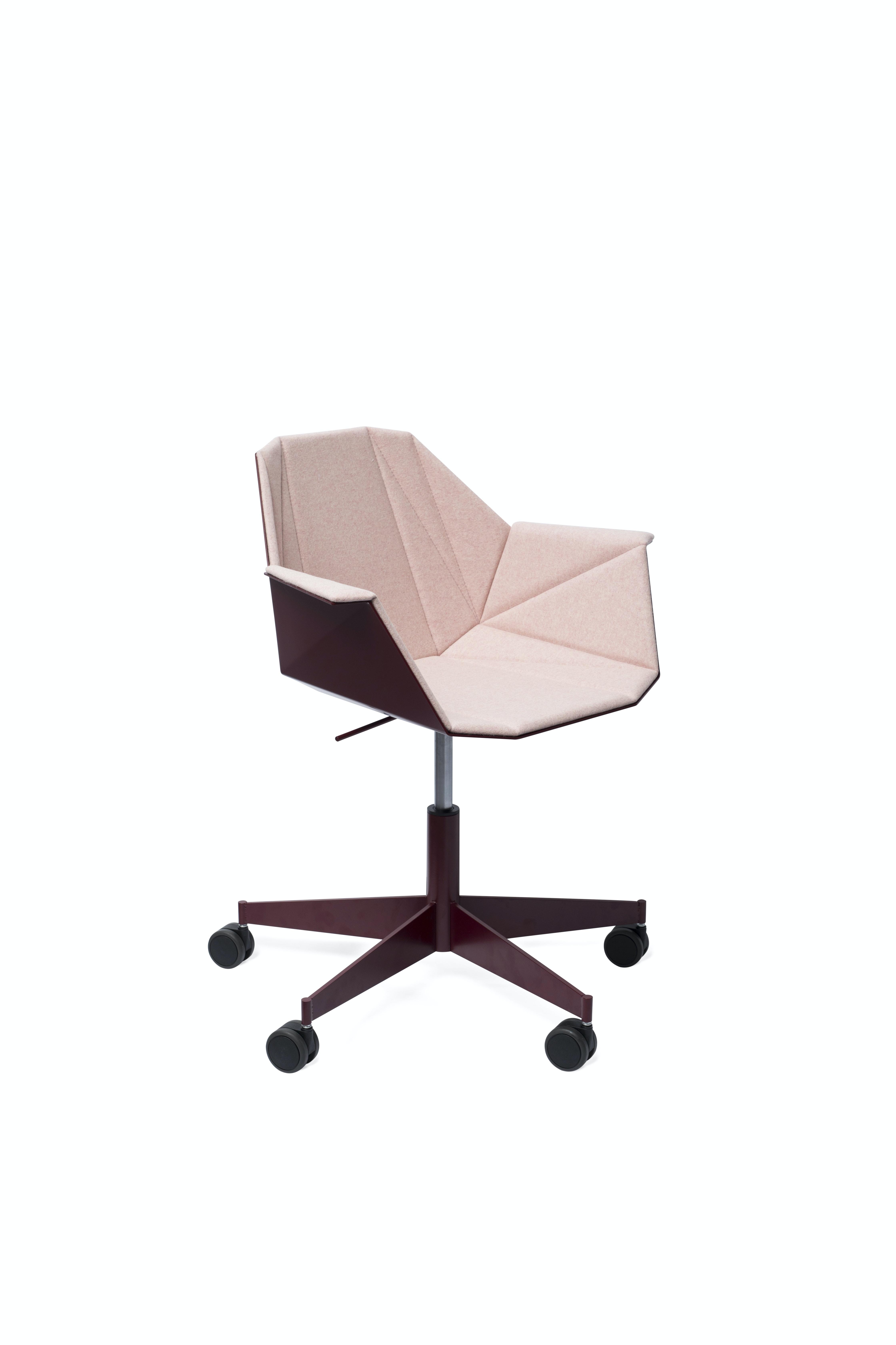 Alumni Task Oxblood Pink Upholstered Side Angle