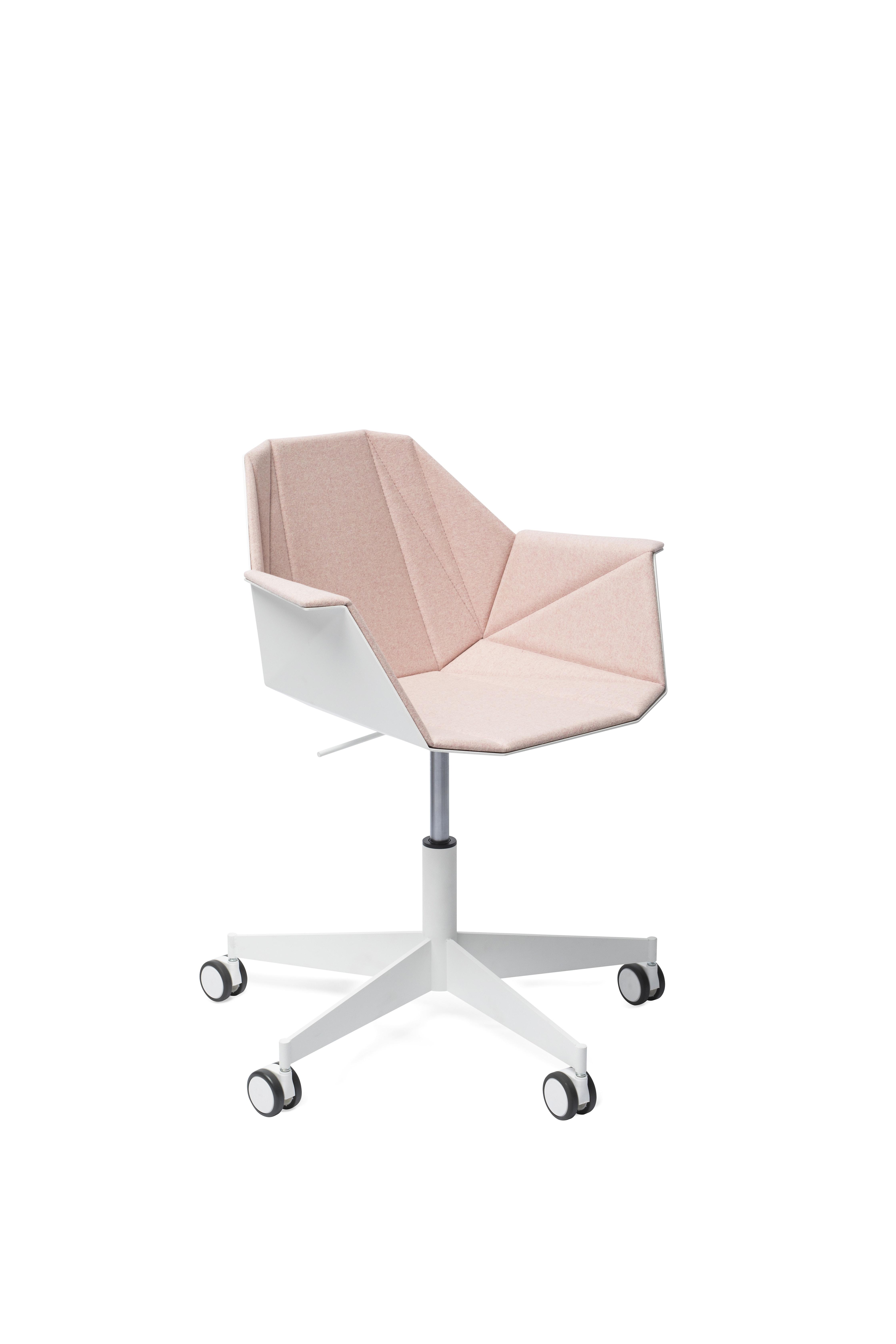 Alumni Task White Pink Upholstered Side Angle