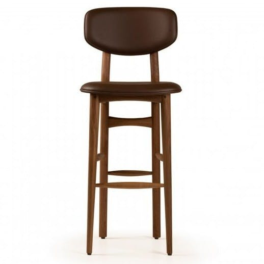 De La Espada Autoban Butterfly Bar Stool Walnut Front Haute Living
