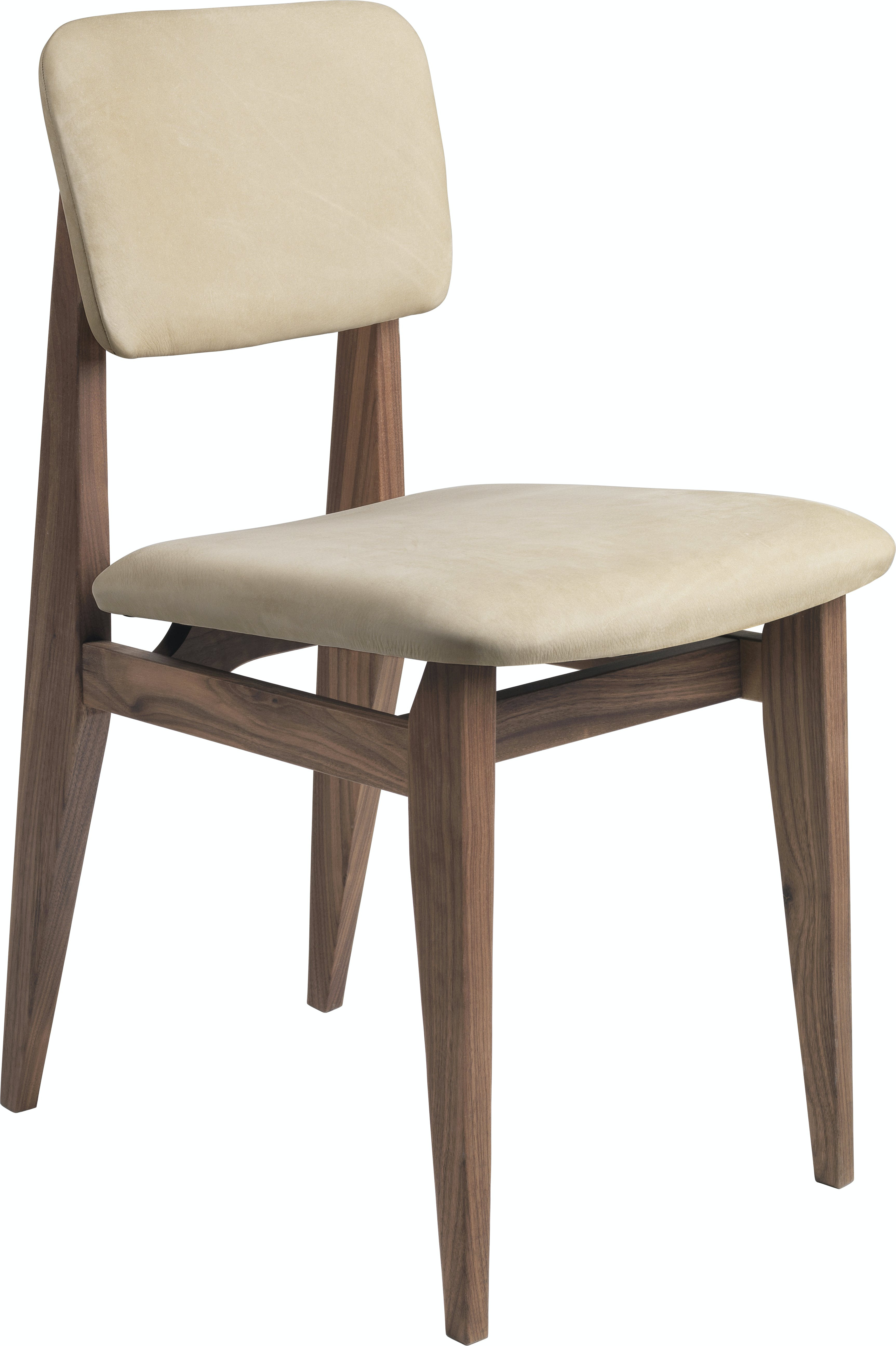 C Chair Dining Chair Wood Fully Upholstered American Walnut Gubi Chamois 1726 F3 Q