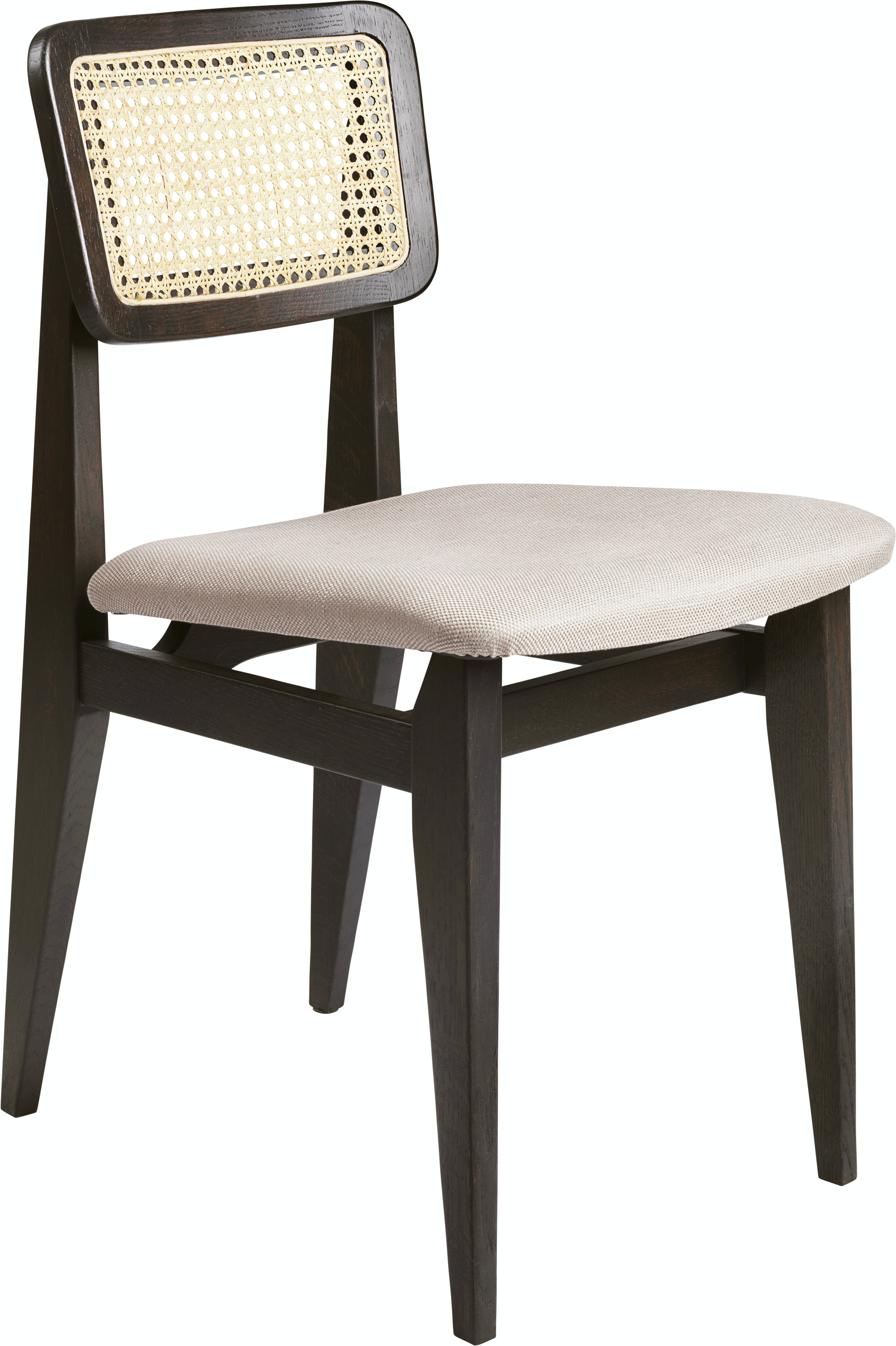C Chair Dining Chair Wood Seat Upholstered French Cane Brown Black Stained Oak Dedar Sinequanon 030 Ficelle F3 Q