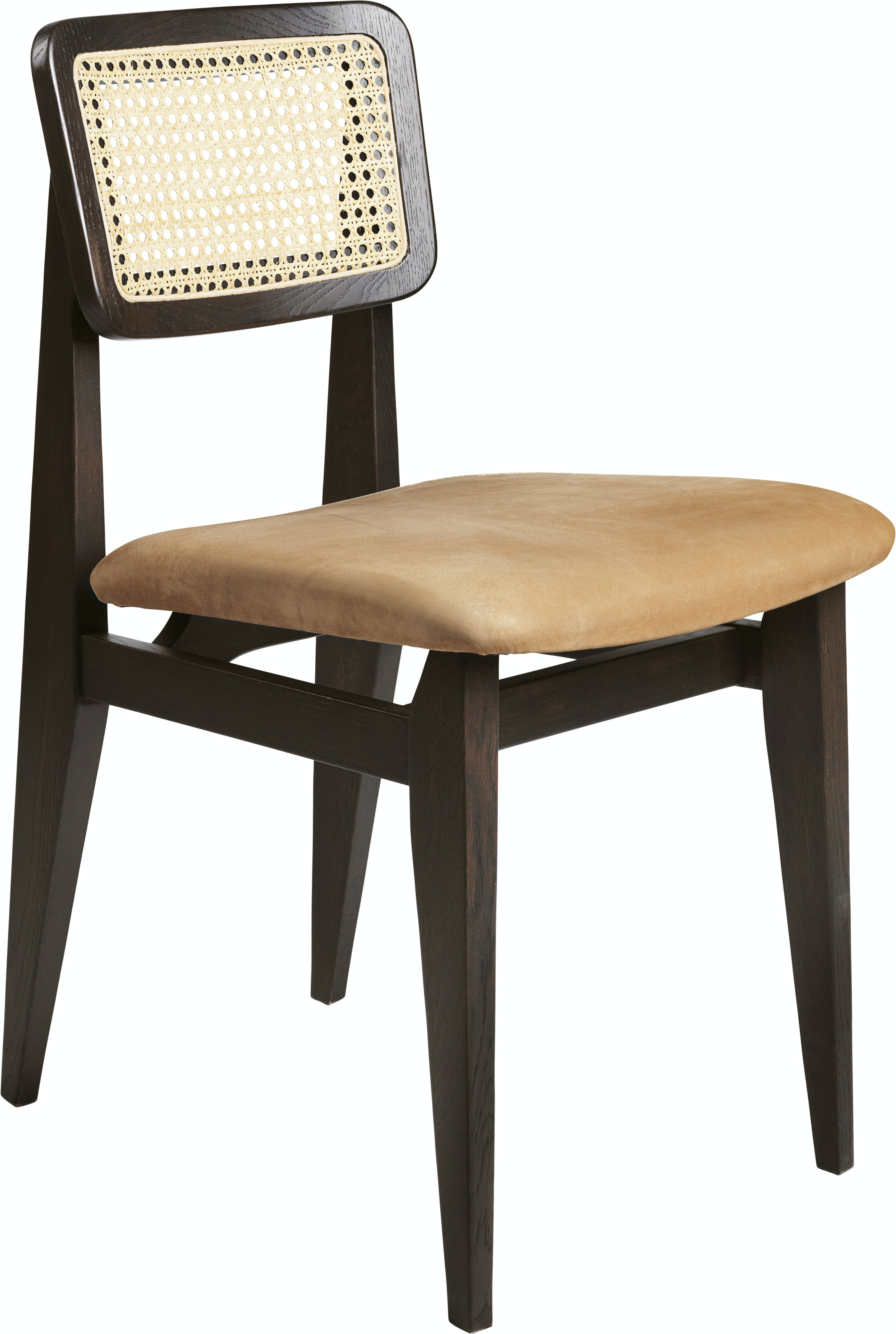 C Chair Dining Chair Wood Seat Upholstered French Cane Brown Black Stained Oak Gubi Nubuck 1709 F3 Q