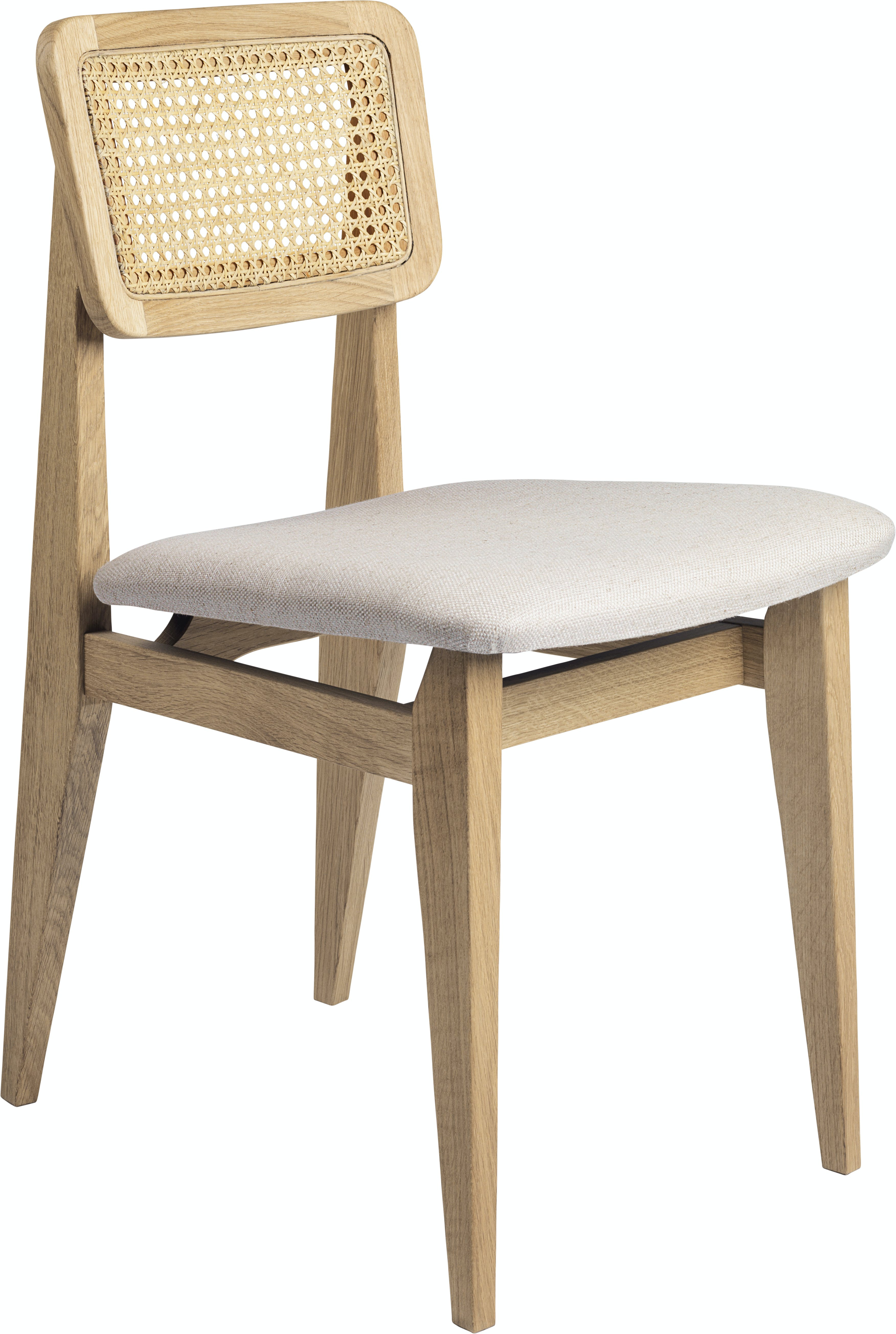 C Chair Dining Chair Wood Seat Upholstered French Cane Oak Dedar Sinequanon 008 Linen F3 Q
