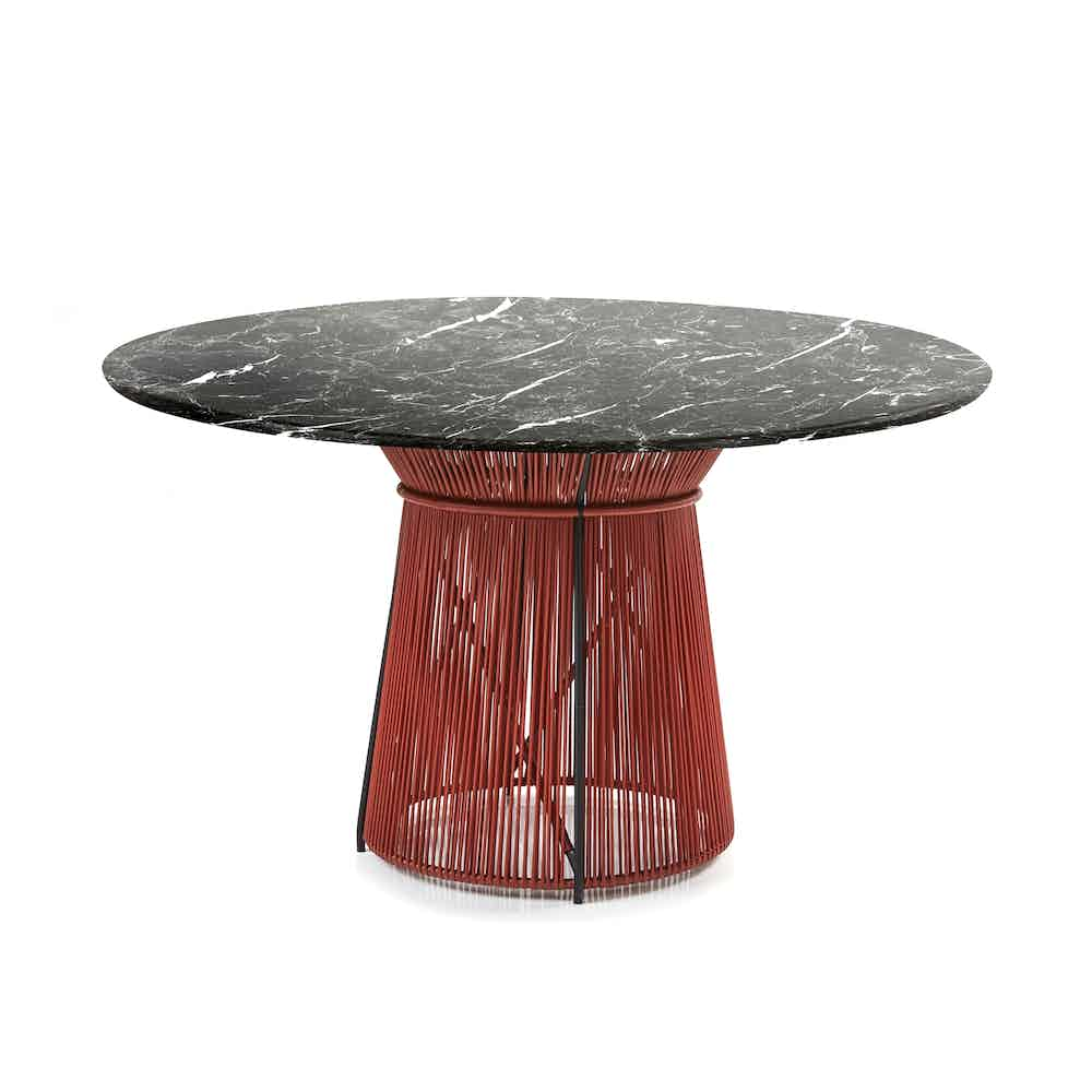 Ames furniture design caribe chic dining table marble haute living