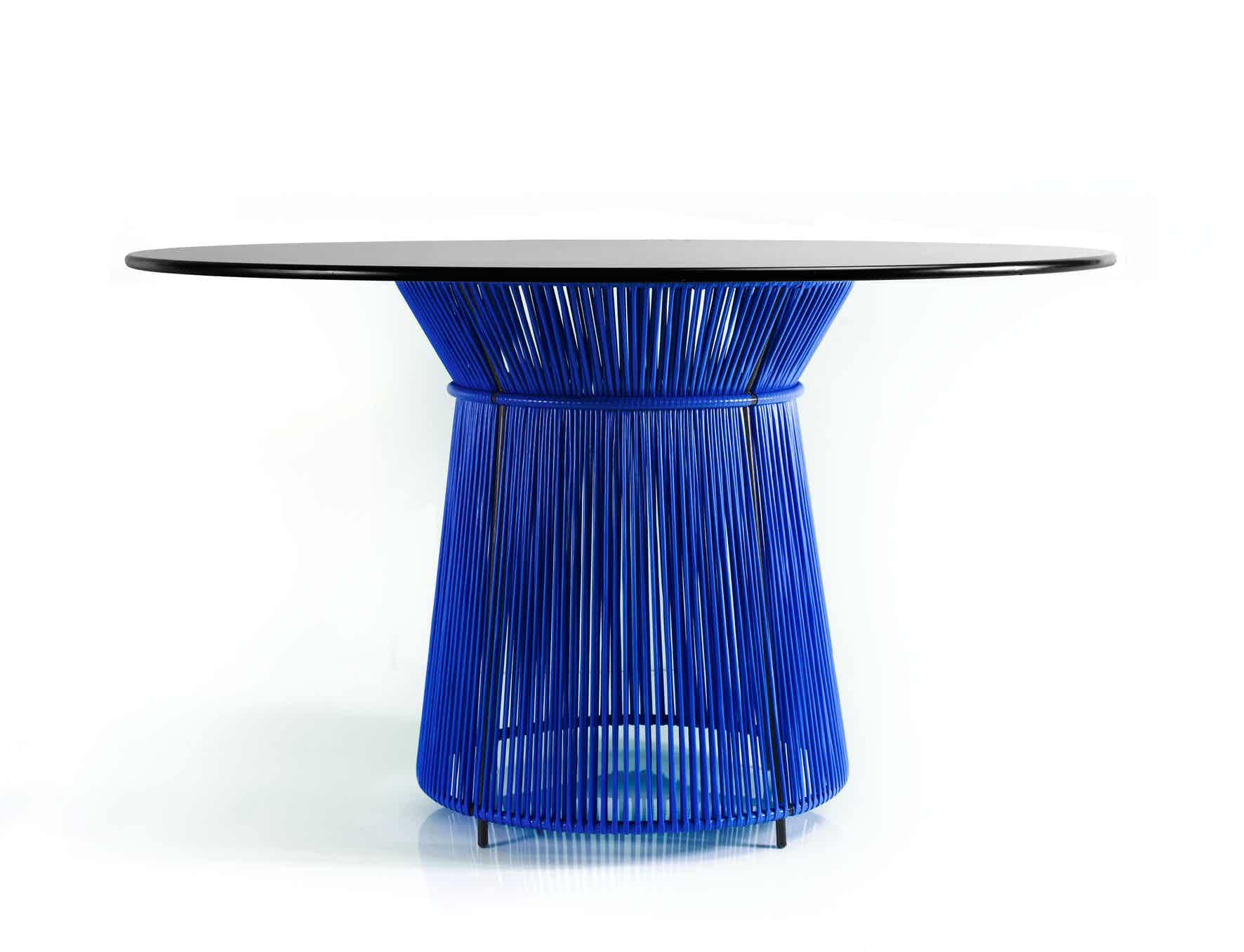 Ames furniture design caribe dining table blue haute living