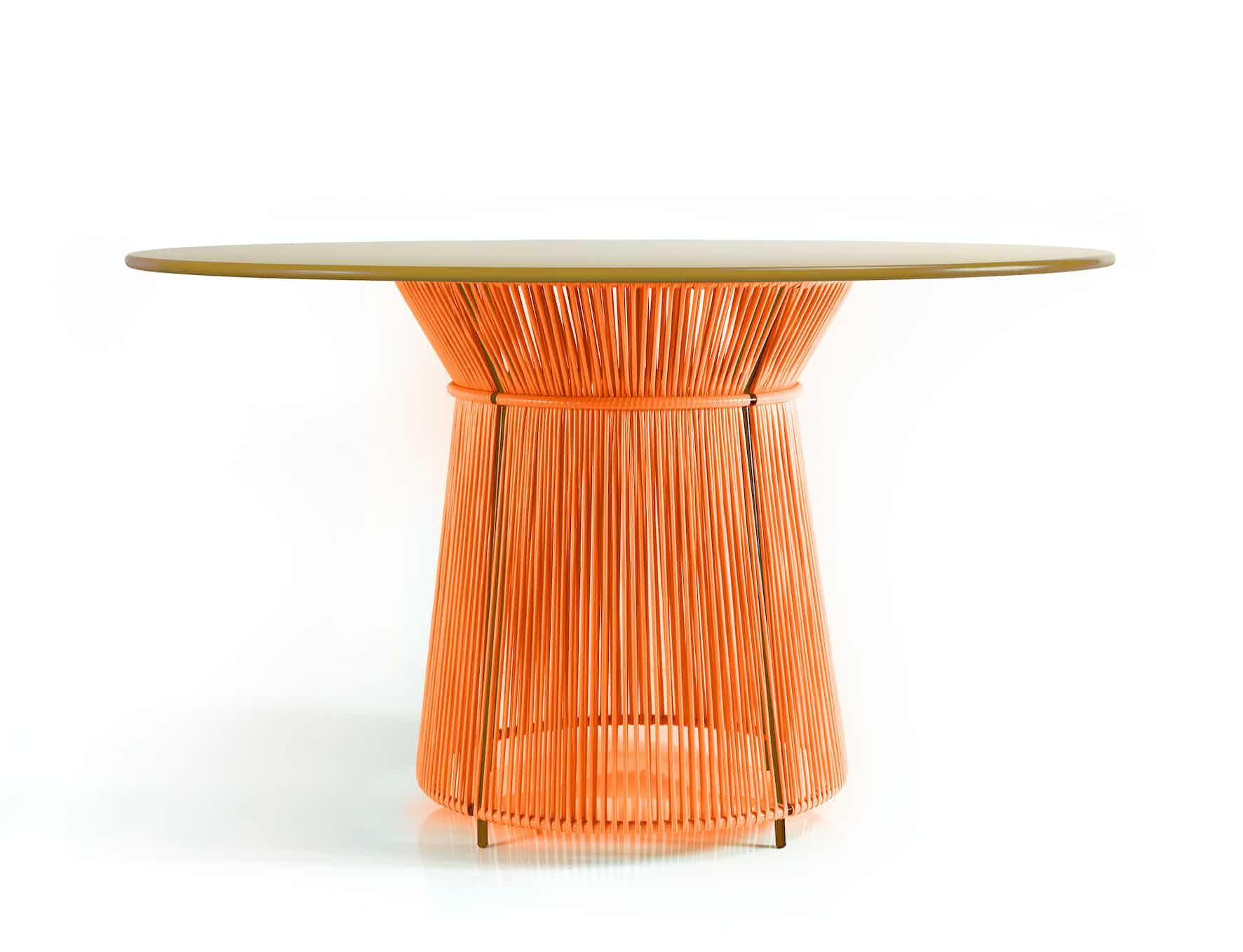 Ames furniture design caribe dining table orange haute living