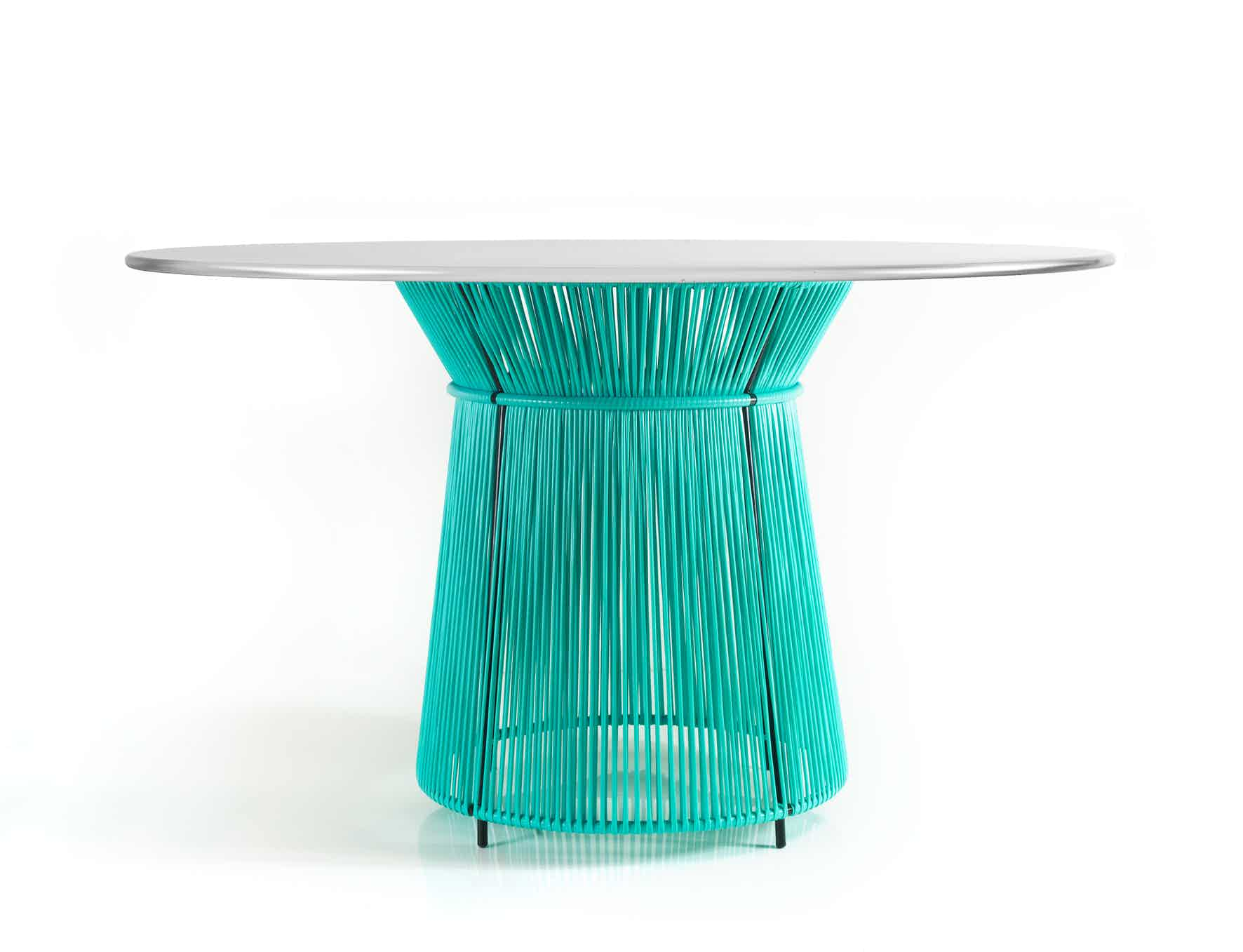 Ames furniture design caribe dining table teal haute living