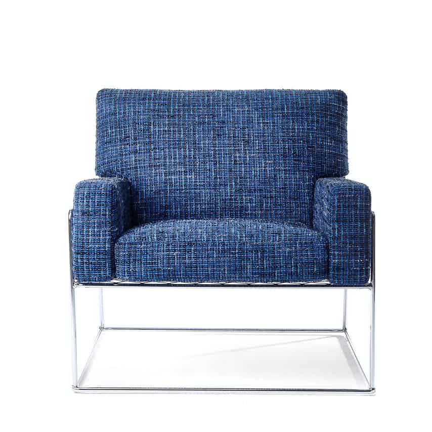 Moooi charles chair blue front haute living