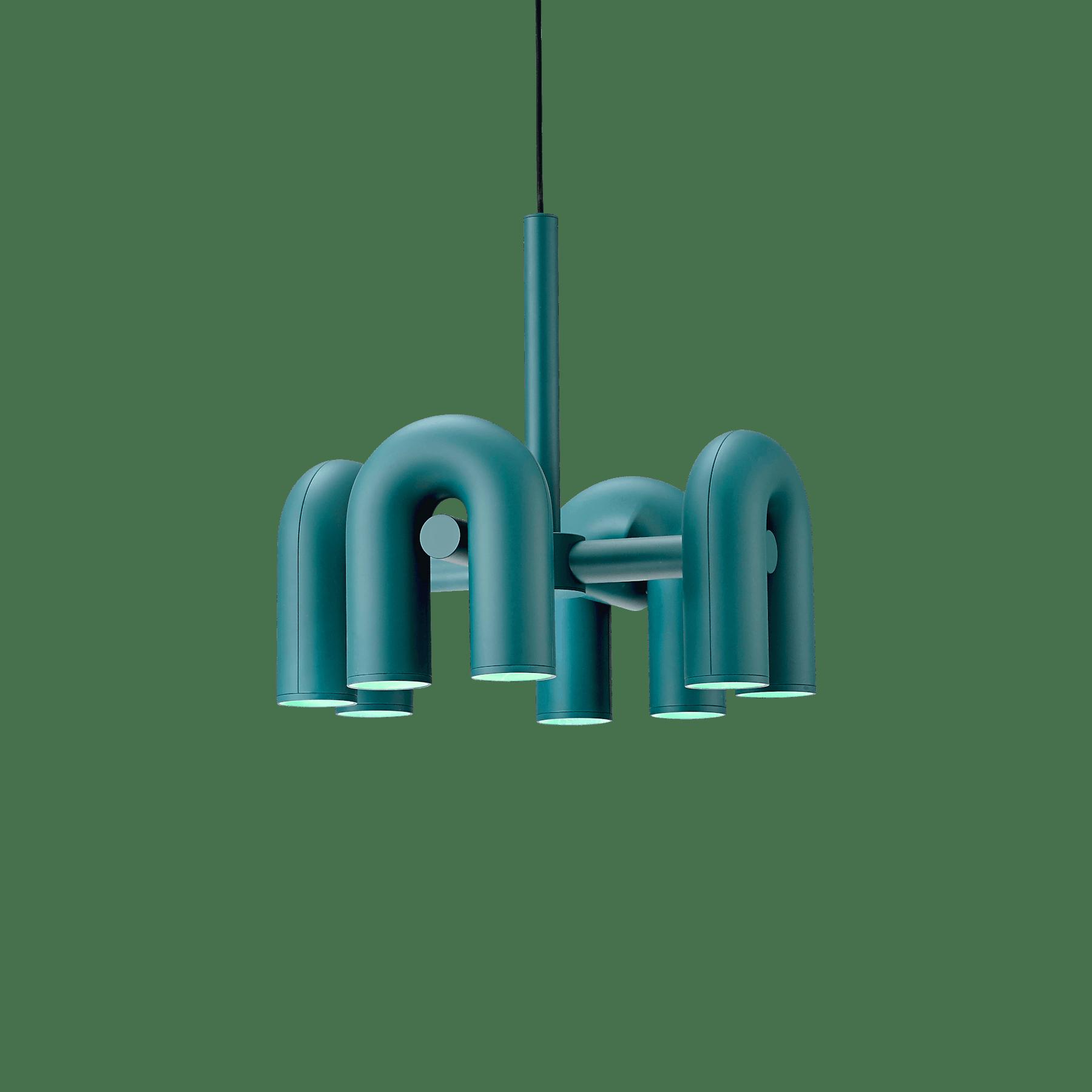 Ago lighting small circkus chandelier green haute living