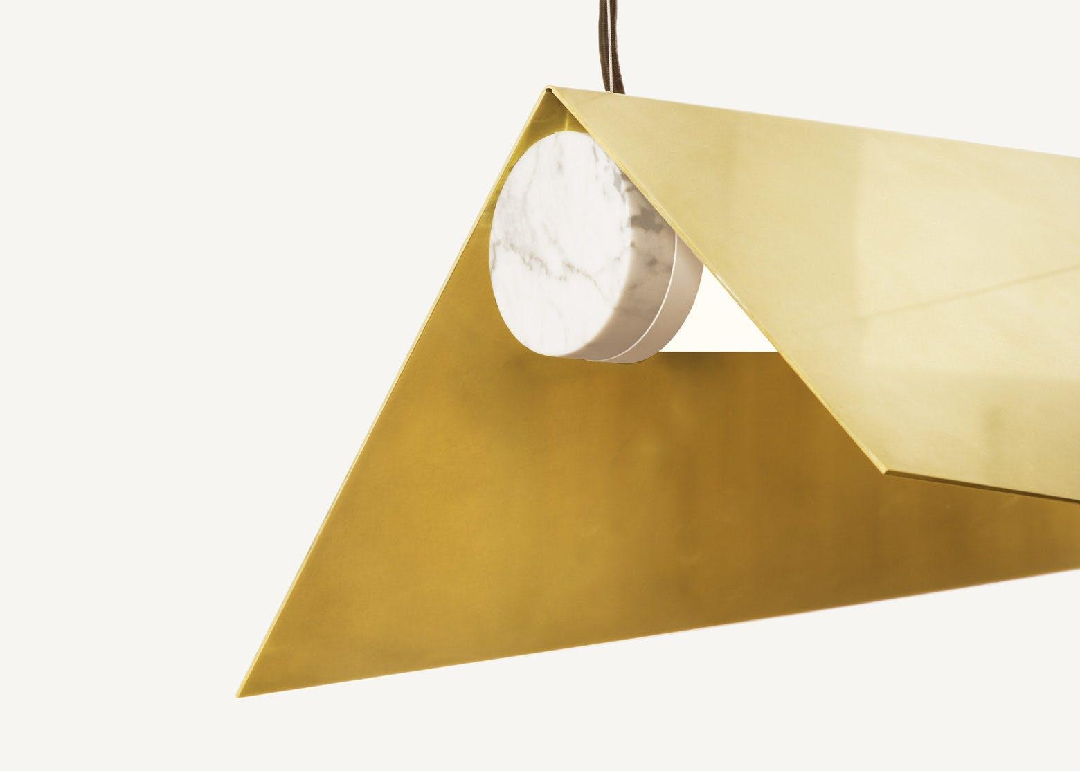 lambert & fils clark suspension hanging light marble cap detail haute living