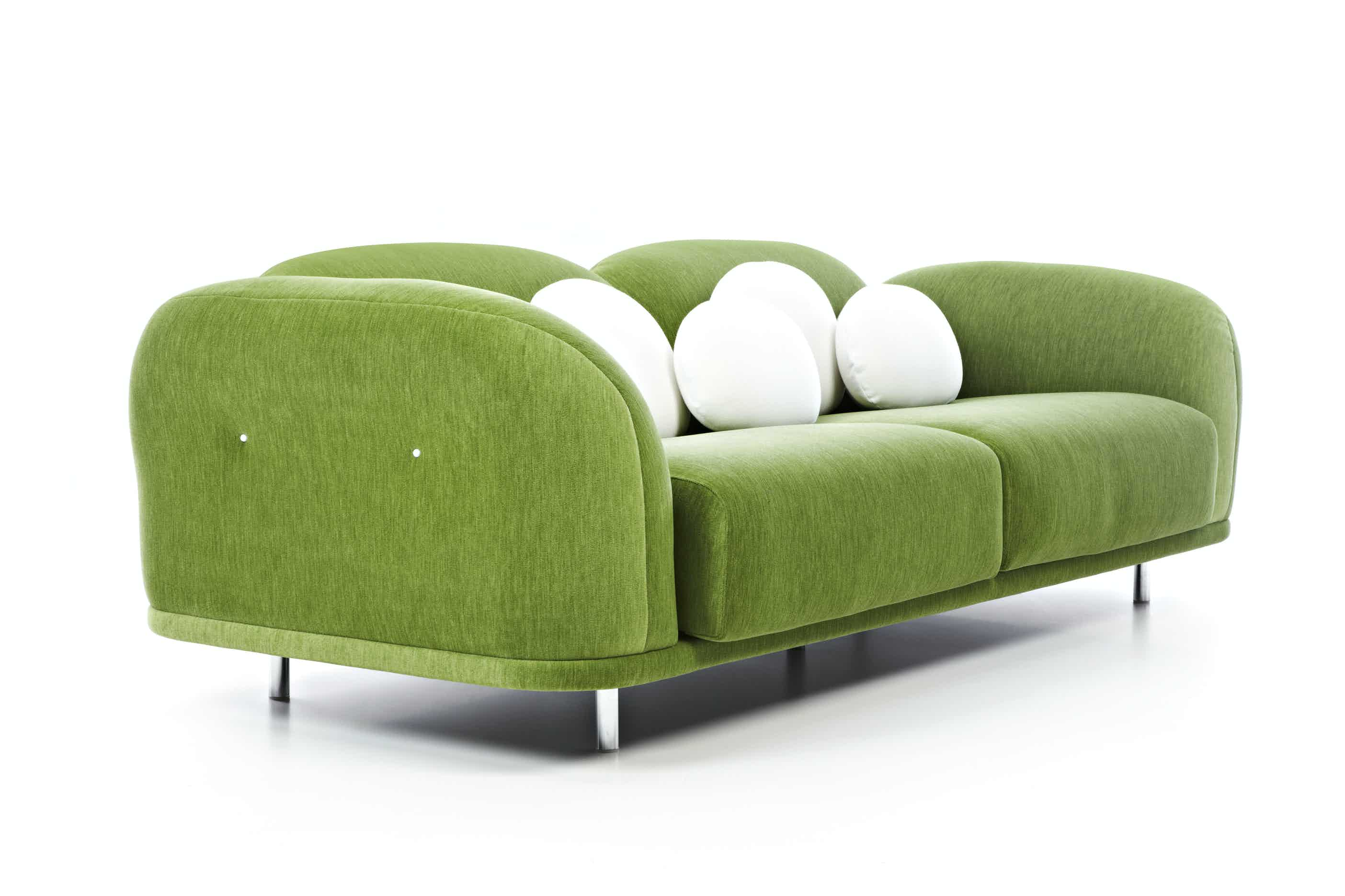 Moooi cloud sofa green angle haute living