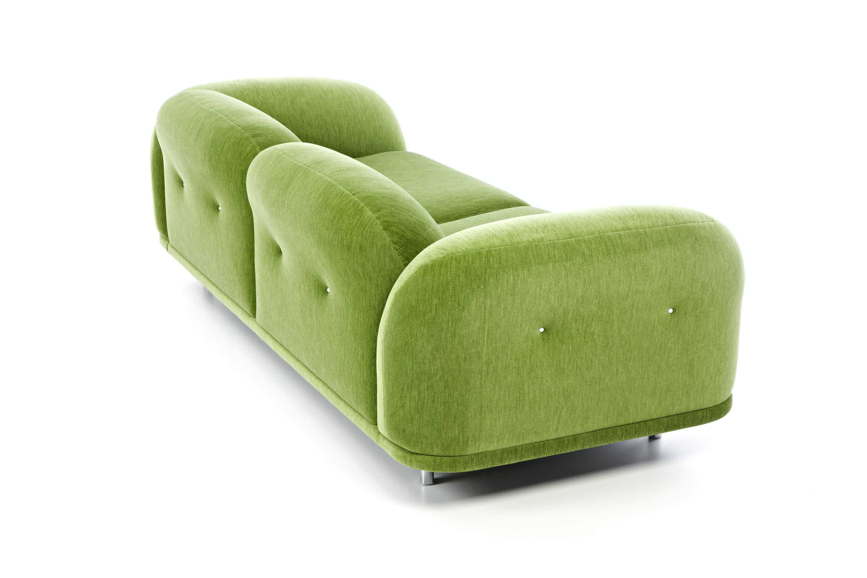 Moooi cloud sofa green back angle haute living