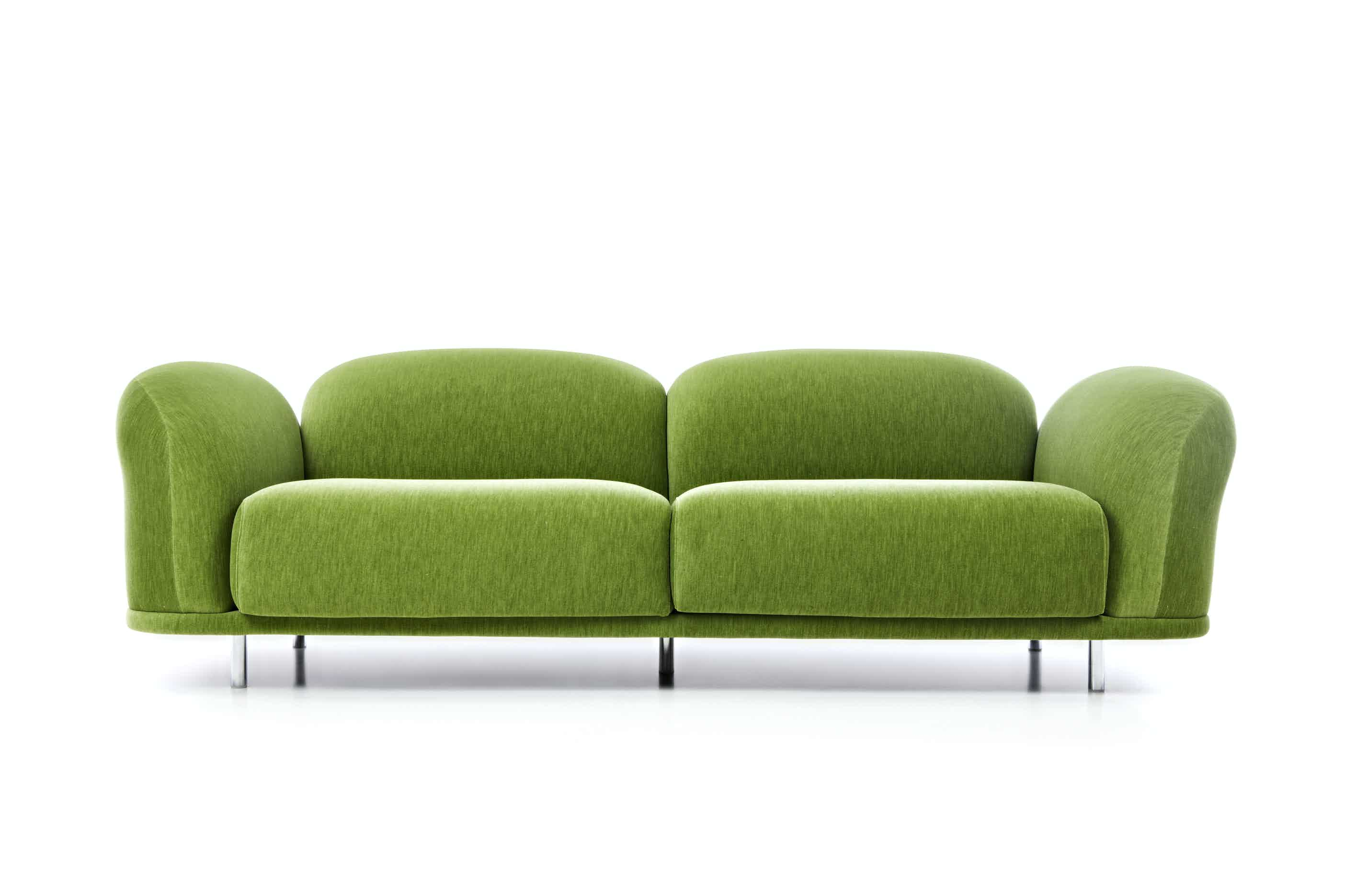 Moooi cloud sofa green front haute living