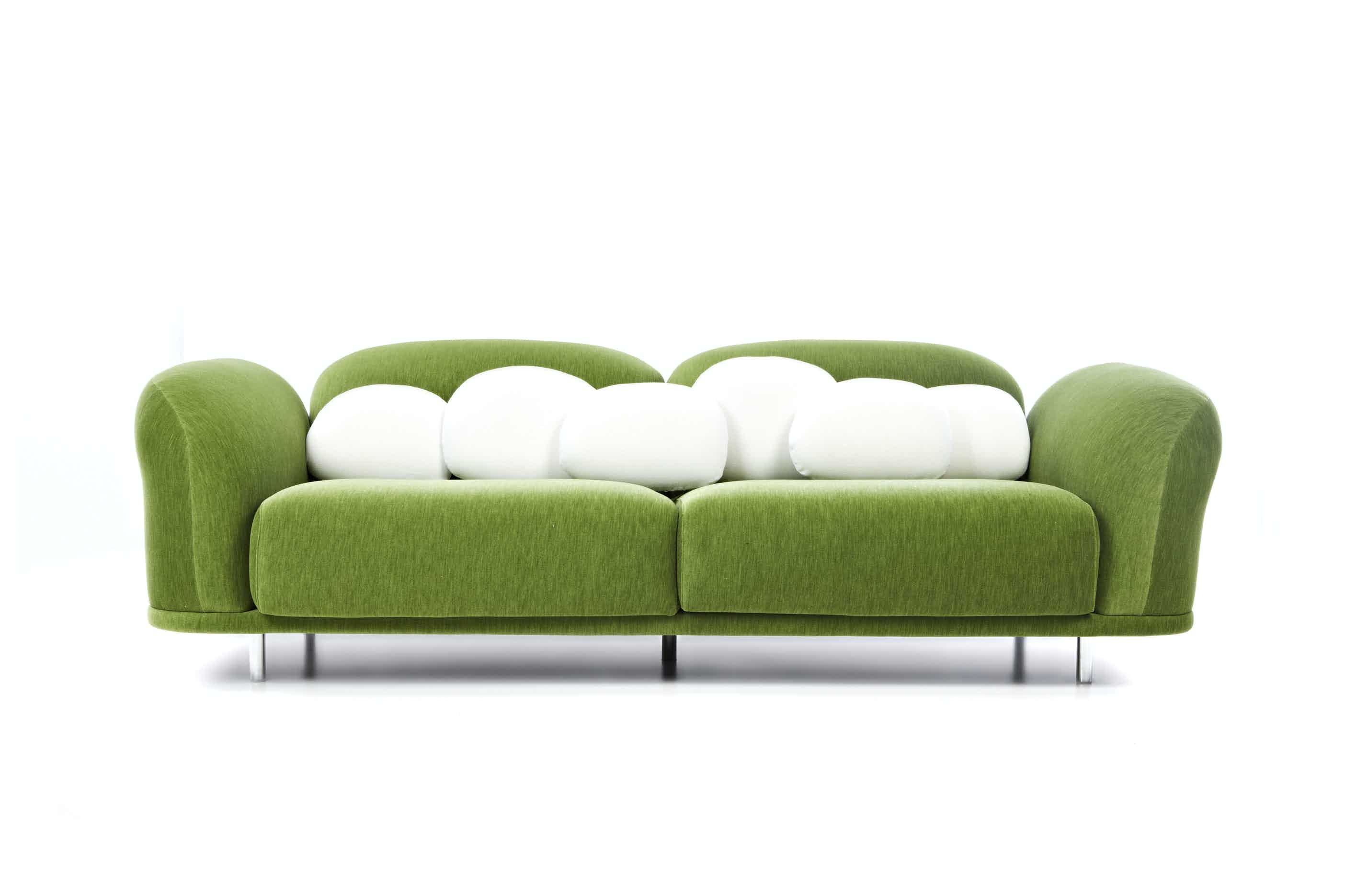 Moooi cloud sofa green pillow haute living