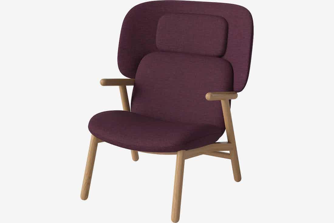 Bolia cosh armchair high back purple haute living