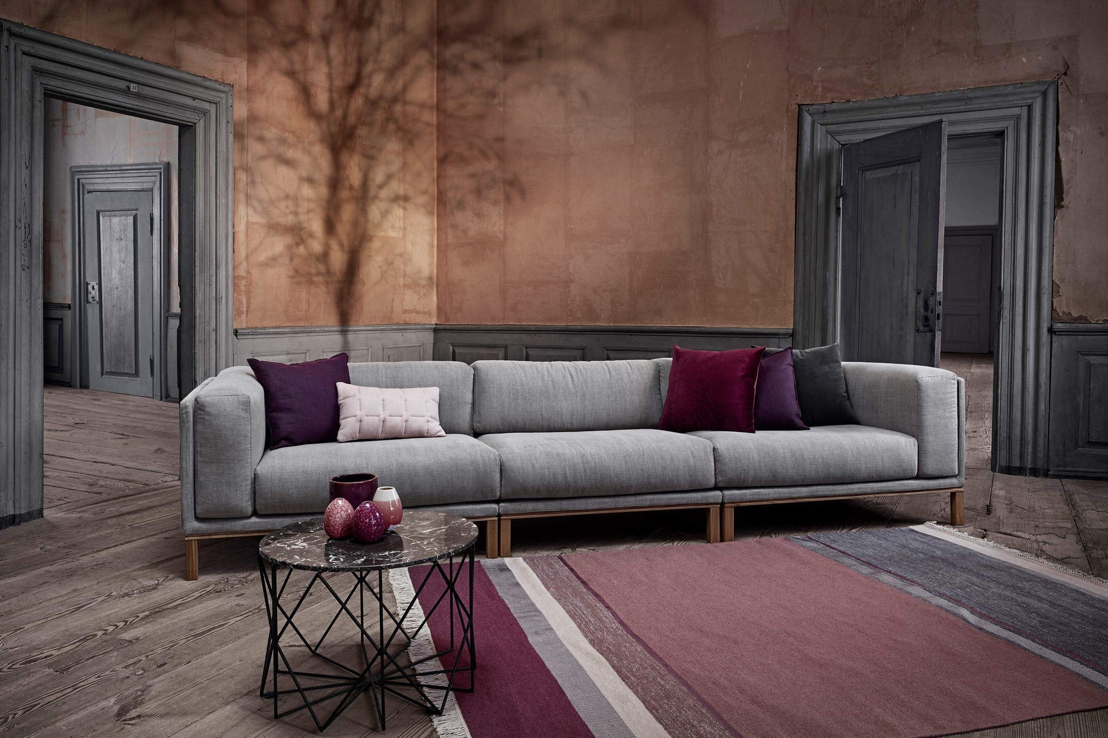 Bolia Long Grey Cosy Modular Sofa Insitu Haute Living