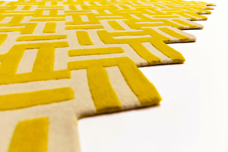 La-chance-yellow-cross-rug-detail-haute-living