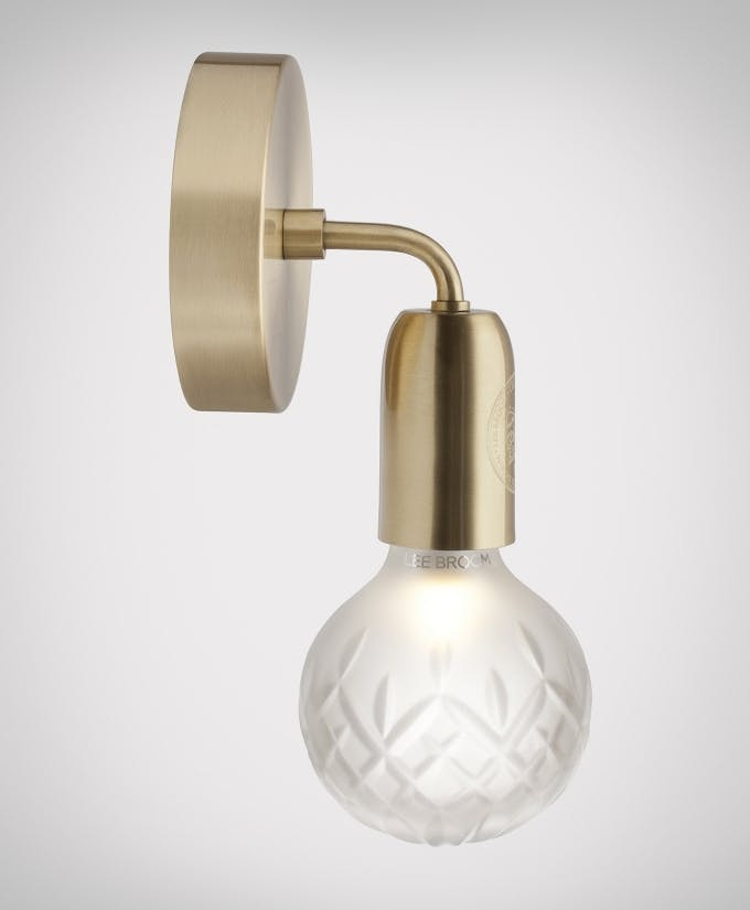 Croppedimage680825 Frosted Crystal Bulb Brushed Brass Wall Light Studio