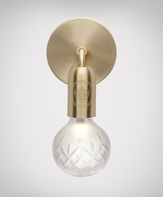 Croppedimage680825 Frosted Crystal Bulb Brushed Brass Wall Light Facing Down Studio