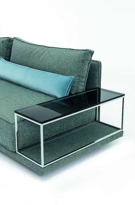 Jab Anstoetz Blue Fabric Cube Lounge Modular Sofa Table Detail Haute Living