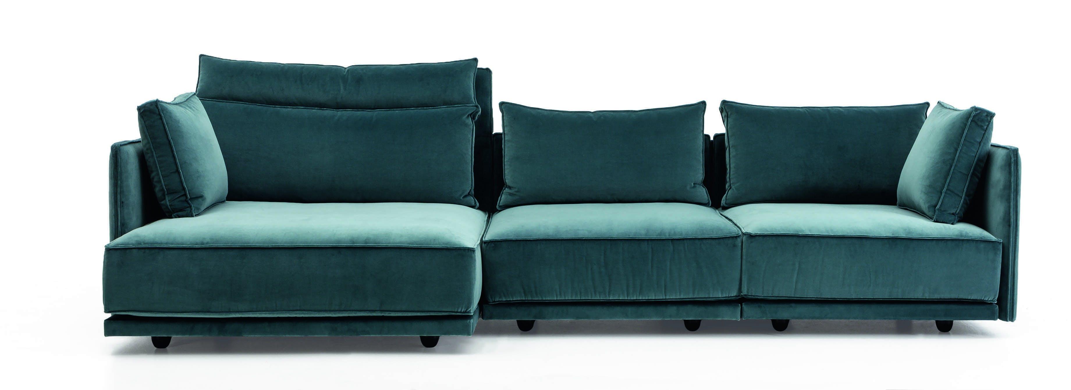 Jab Anstoetz Blue Velvet Cube Lounge Modular Sofa Front Haute Living