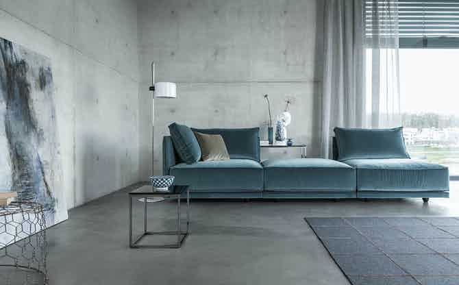 Jab Anstoetz Blue Velvet Cube Lounge Modular Sofa Insitu Side Haute Living