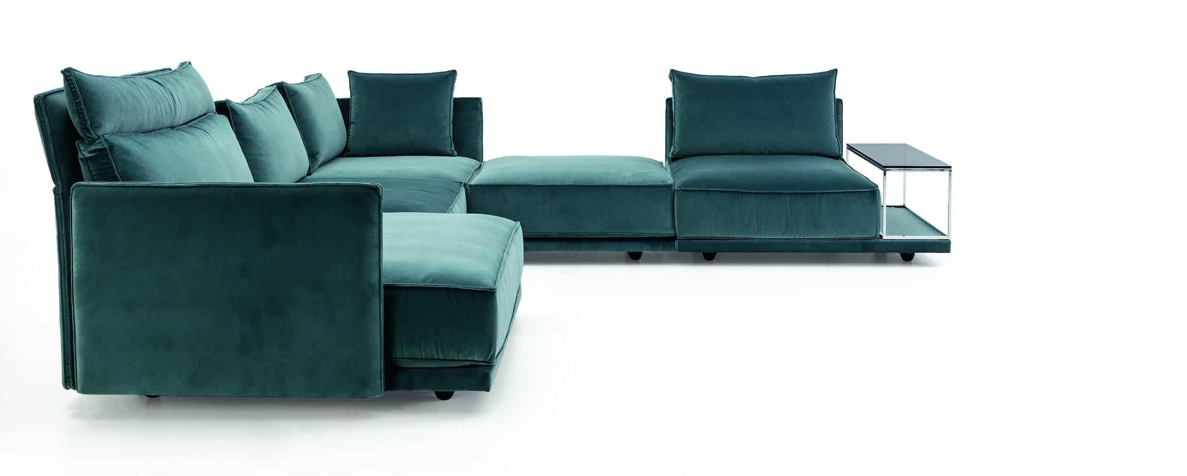 Jab Anstoetz Blue Velvet Cube Lounge Modular Sofa Side Haute Living