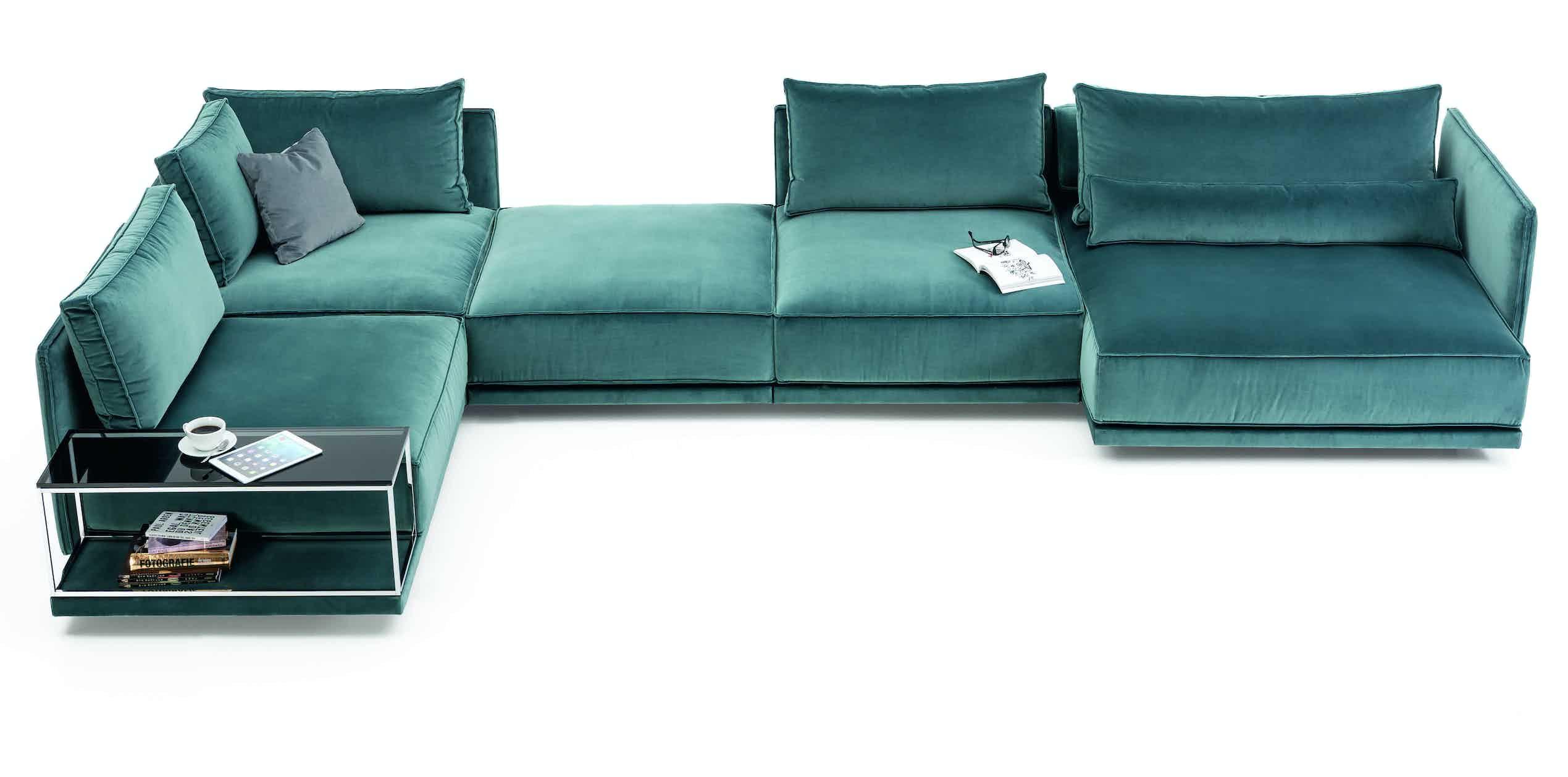 Jab Anstoetz Cube Lounge Blue Velvet Modular Sofa Haute Living