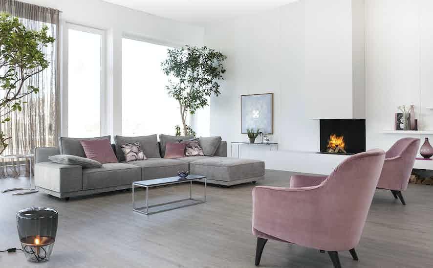 Jab Anstoetz Grey Pink Cube Lounge Modular Sofa Insitu Haute Living