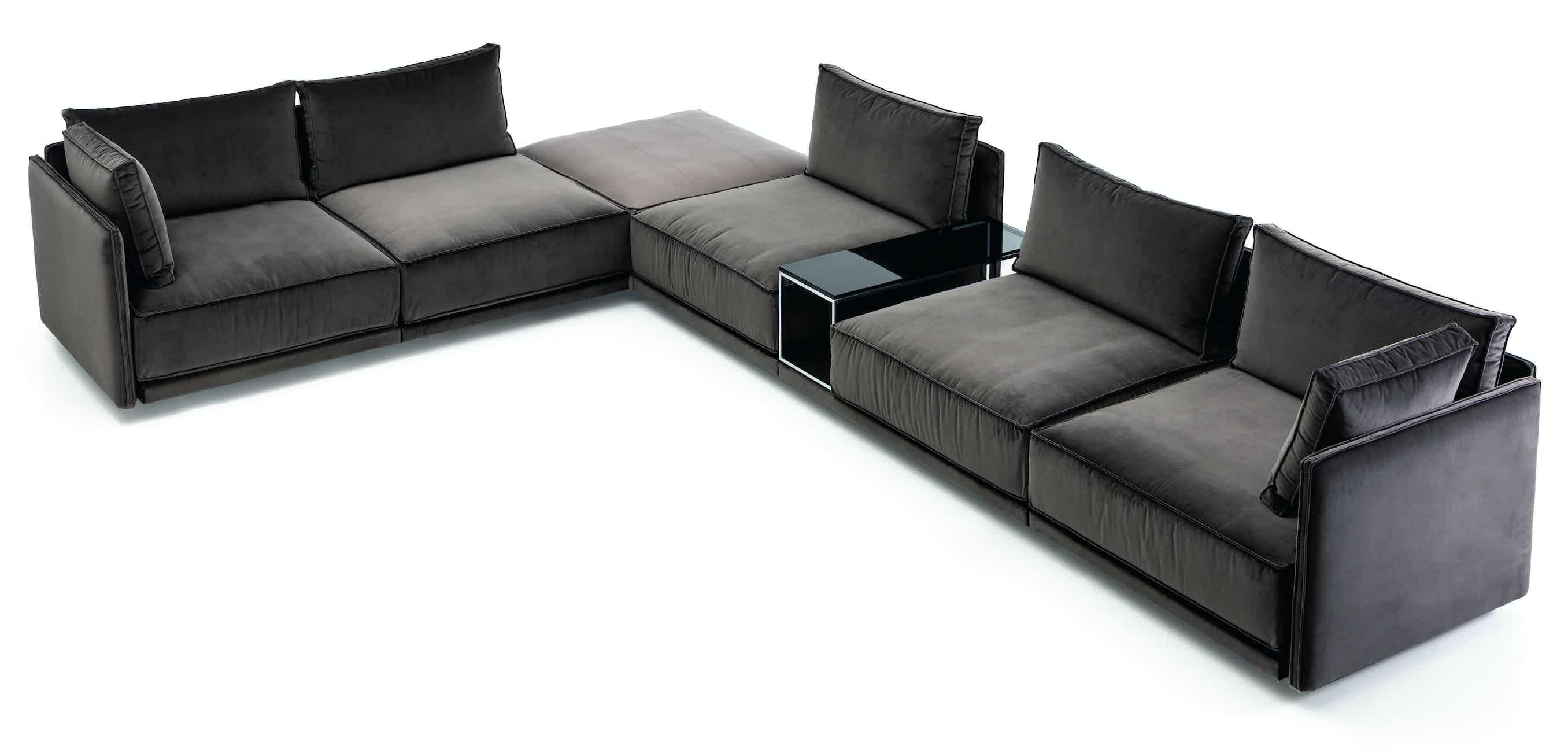 Jab Anstoetz Grey Velvet Cube Lounge Modular Sofa Corner Haute Living
