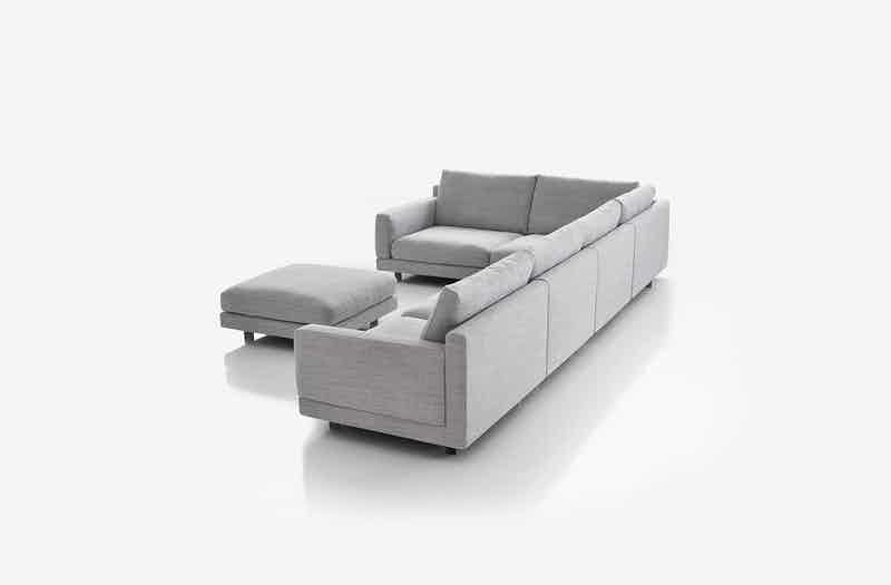 Bensen Grey Elle Sectional Sofa Back