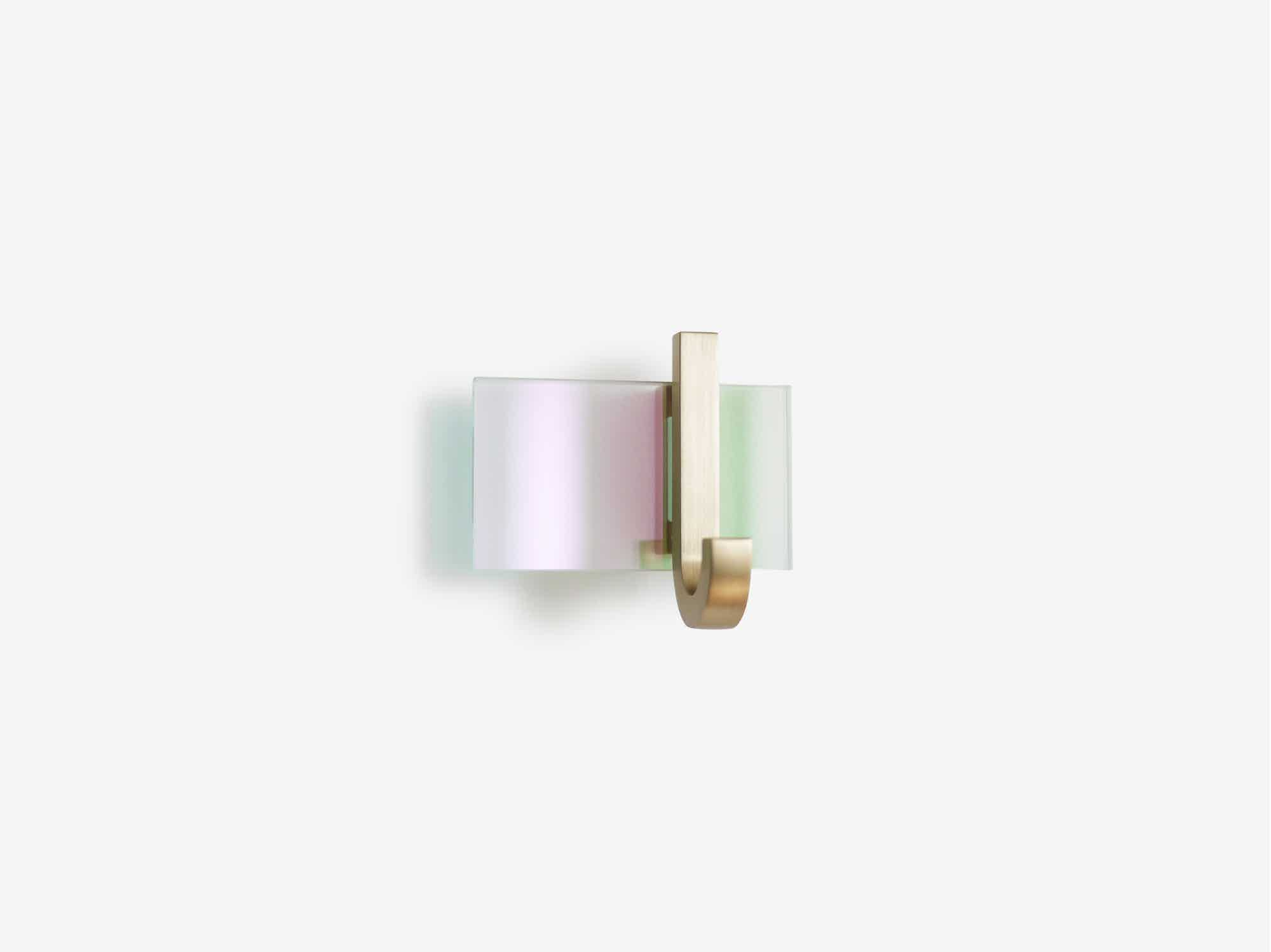 trueing Float Hook Pink Green Dichroic Glass haute living