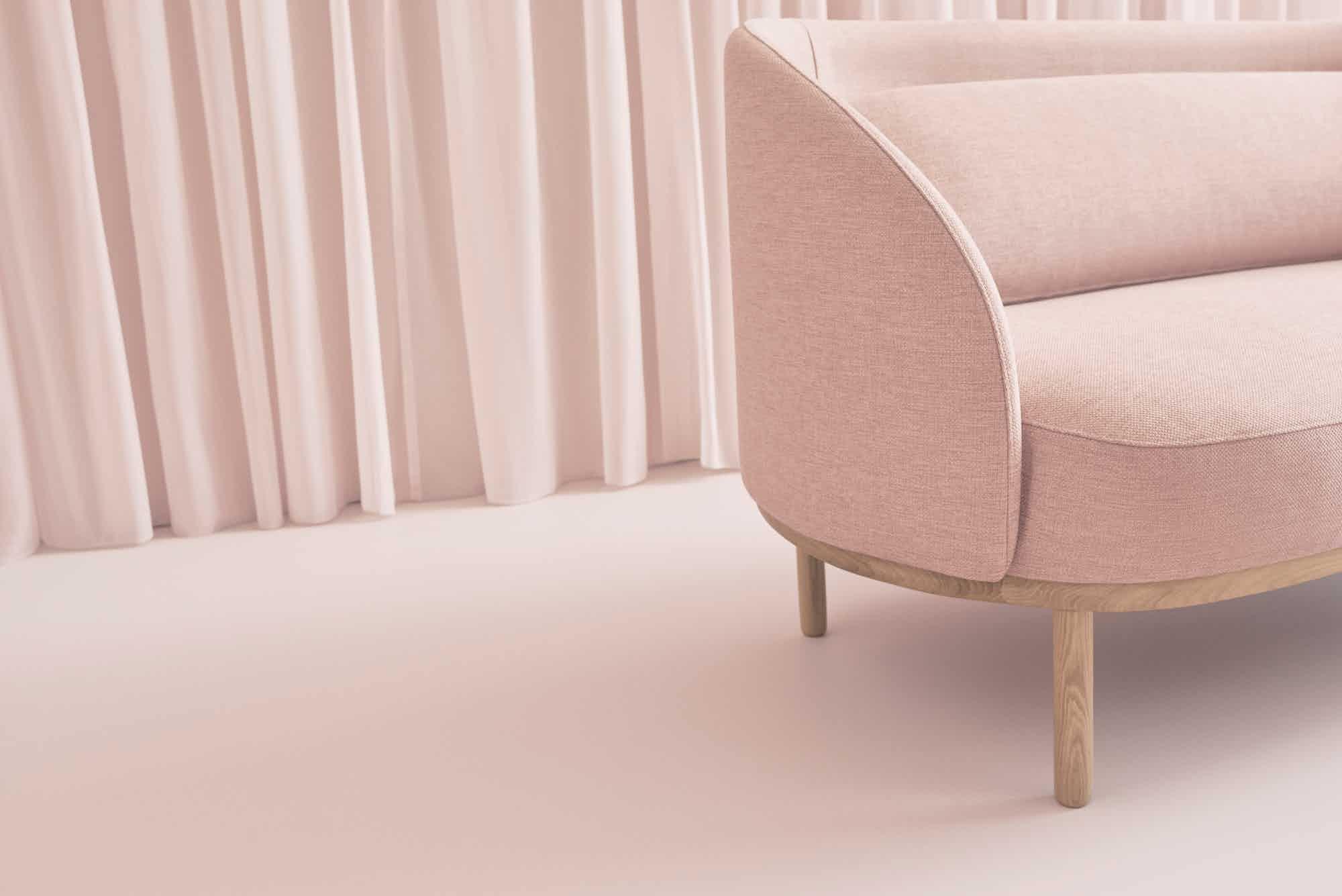 bolia pink fuuga sofa detail insitu haute living