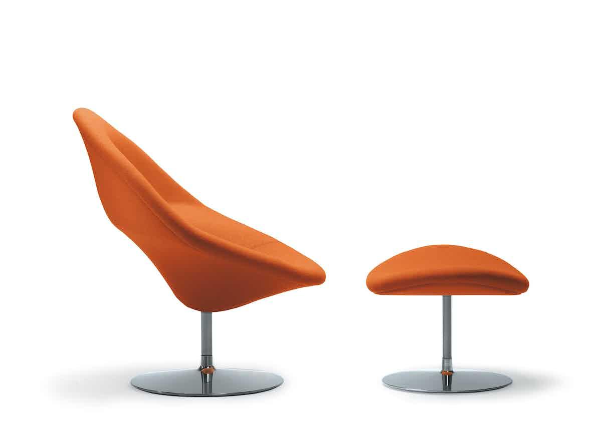 Artifort Orange Globe Chair With Ottoman Side