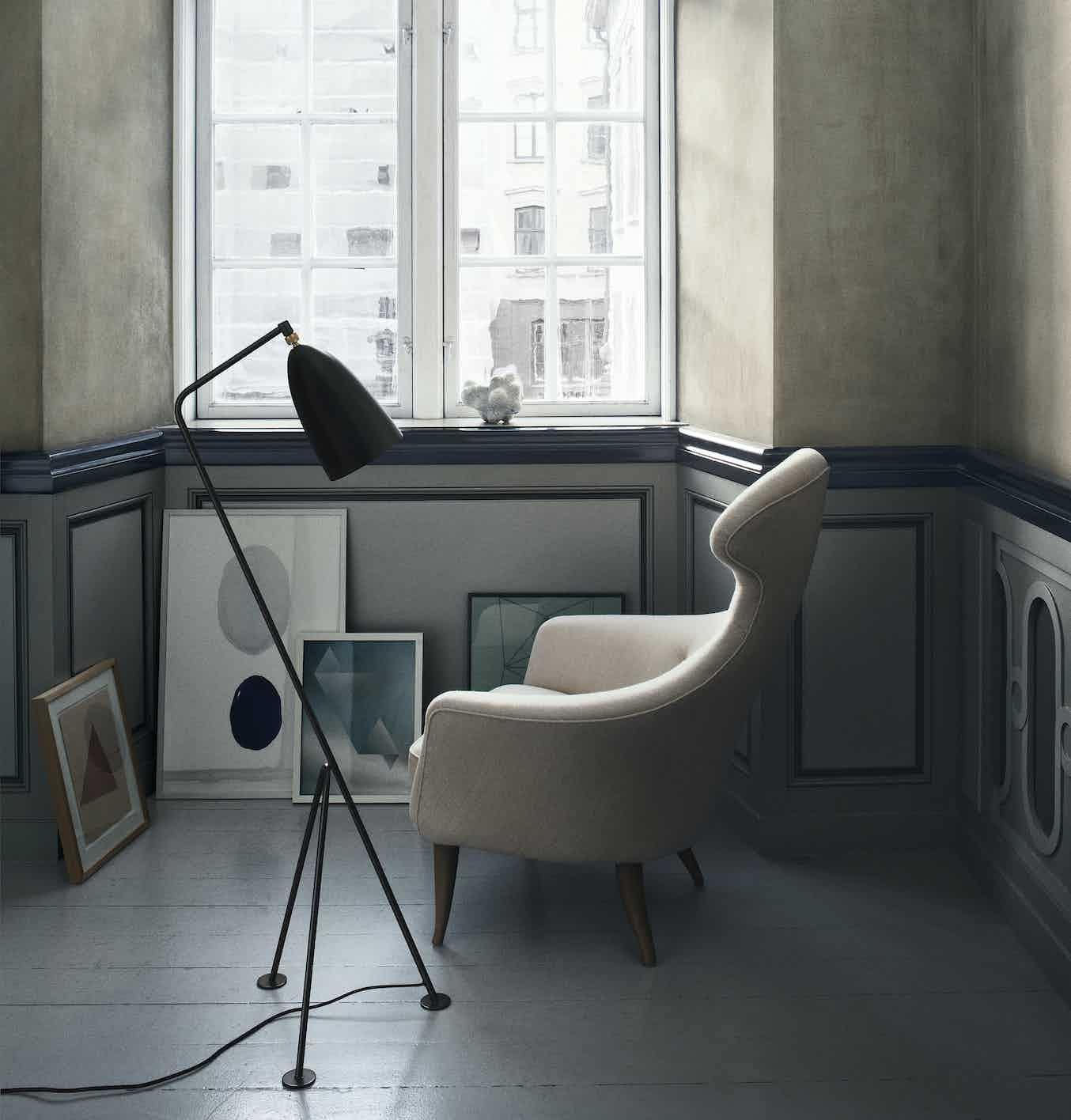 Gubi Grashoppa Floor Lamp Insitu Black Haute Living