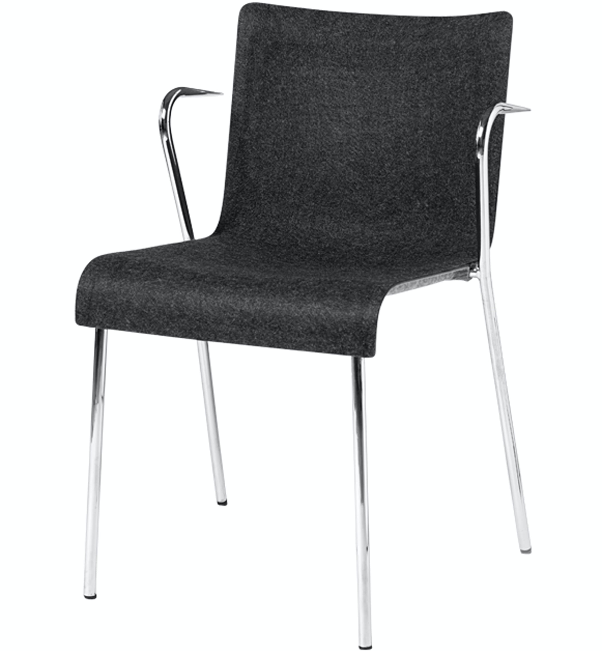 Gubi Chair 2 Armrest Grey And Dark Grey Front Product