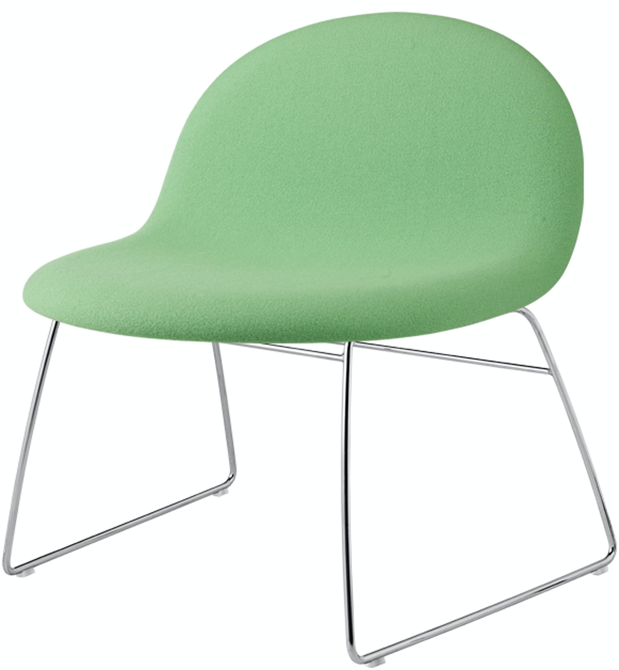 Gubi Lounge Fully Upholstred Green Crome Base Front Product