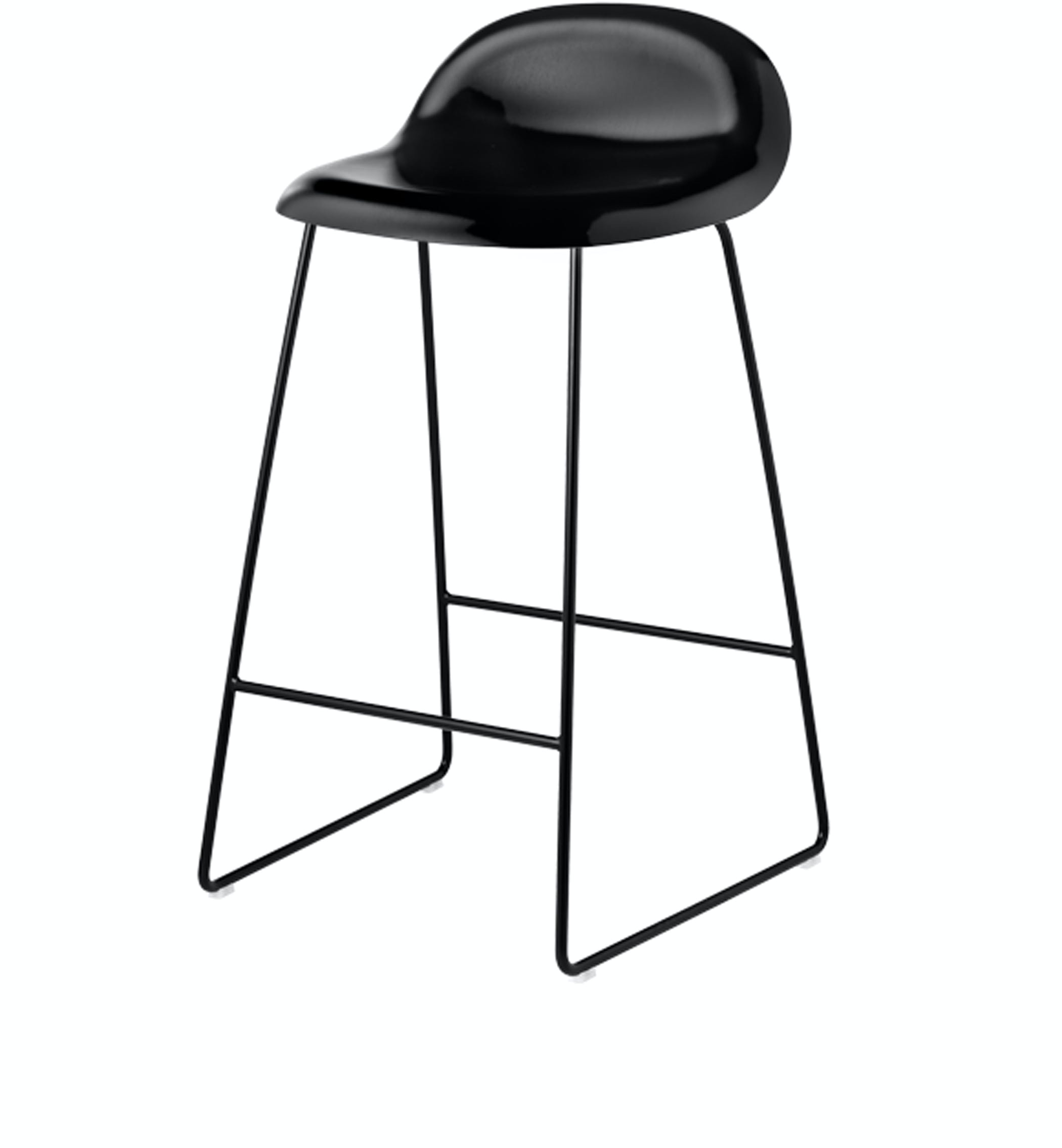 Gubi Chair Stool Black Wood Black Sledge Base 65 Front Product